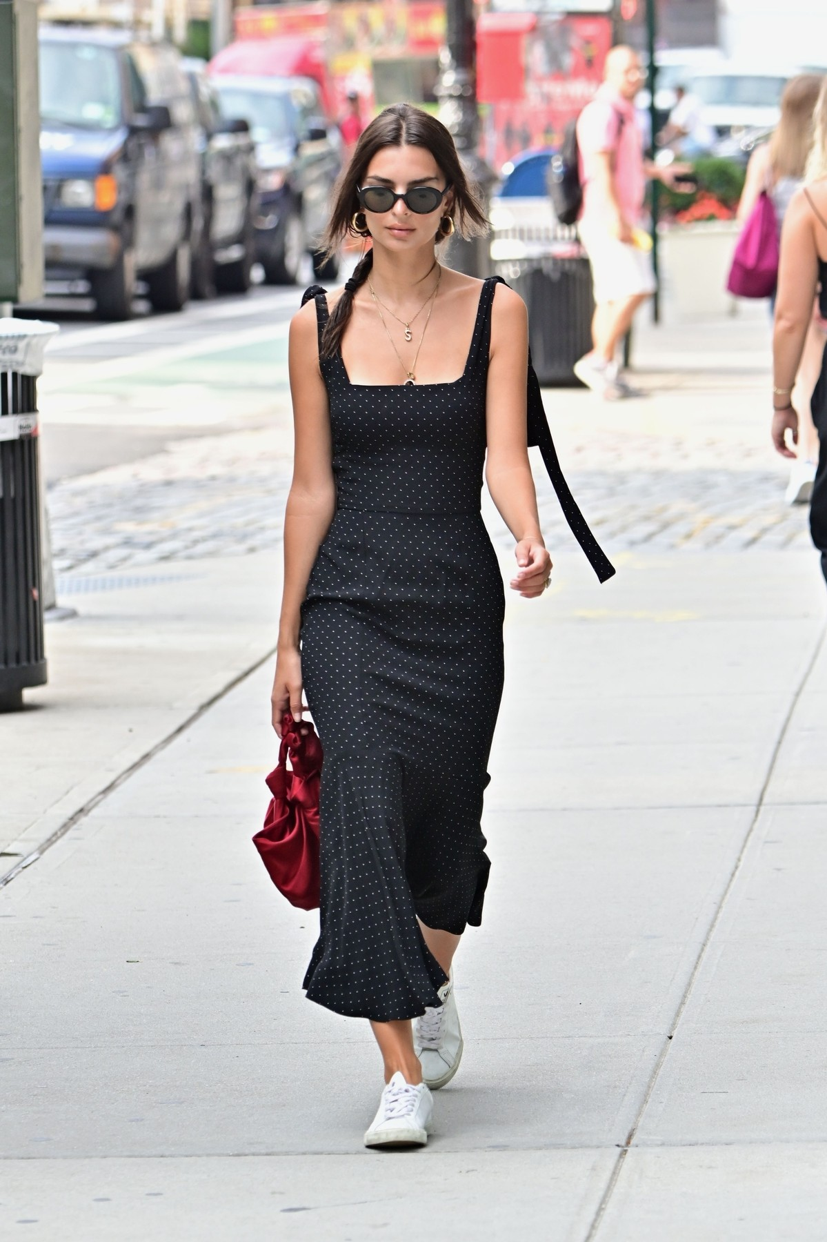 New York, NY  - Model, Emily Ratajkowski looks stylish in a black polka dot dress as she runs her early morning errands in New York. Emily is seen wearing a necklace with an 'S' pendant to represent her love for husband Sebastian Bear-McClard.  BACKGRID USA 19 AUGUST 2019, Image: 466117023, License: Rights-managed, Restrictions: RIGHTS: WORLDWIDE EXCEPT IN FRANCE, GERMANY, POLAND, Model Release: no, Credit line: Profimedia, Backgrid USA
