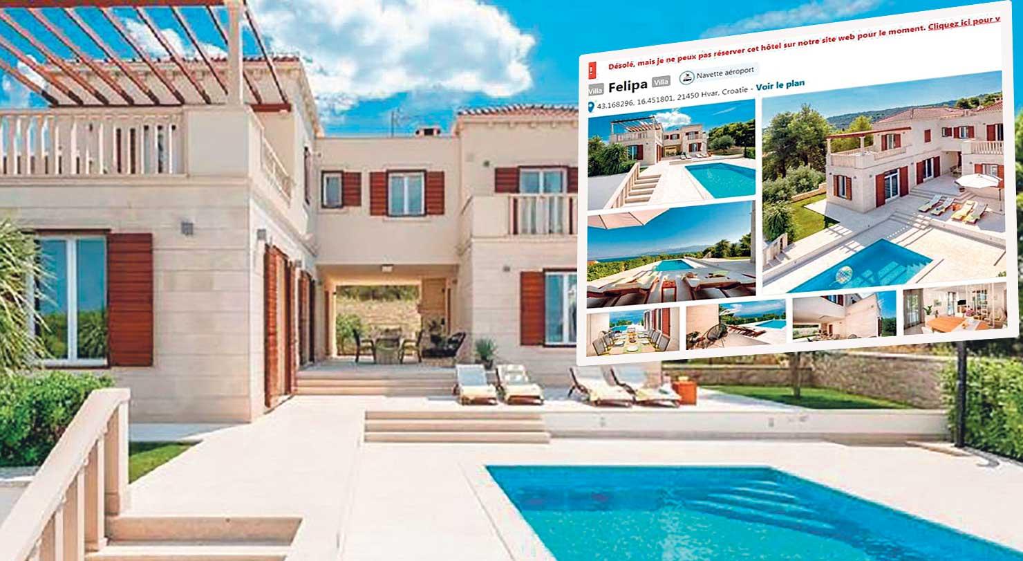 """Villa Martelina nalazi se u Splitskoj na otoku Braču, a cijena noćenja za osam osoba kreće se između 490 i 900 eura, ovisno o terminu u kojem se unajmljuje. Francuski turisti su svoj smještaj u """"toj vili"""" platili 6420 eura"""