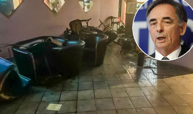 Kafić u kojem se dogodio napad; u krugu: Milorad Pupovac