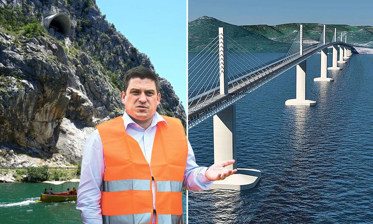 tunel u sklopu projekta omiške obilaznice koji trenutno ne vodi nigdje (lijevo), simulacija izgleda Pelješkog mosta (desno), ministar prometa Oleg Butković (dolje)