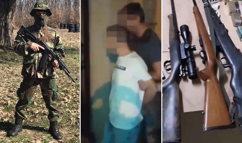Davor P. (lijevo s Instagrama; u sredini tijekom privođenja); dio oružja koje je Davoru P. oduzeto prilikom uhićenja