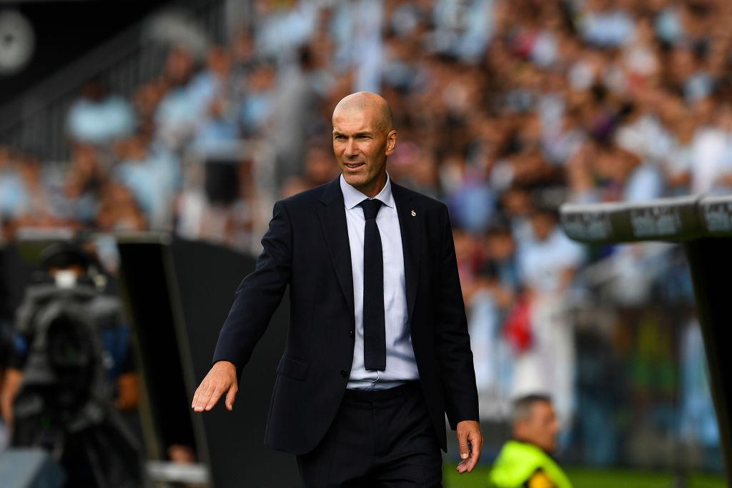 VIGO, SPAIN - AUGUST 17: Head coach Zinedine Zidane of Real Madrid during the Liga match between RC Celta de Vigo and Real Madrid CF at Abanca-Balaídos on August 17, 2019 in Vigo, Spain. (Photo by Octavio Passos/Getty Images)
