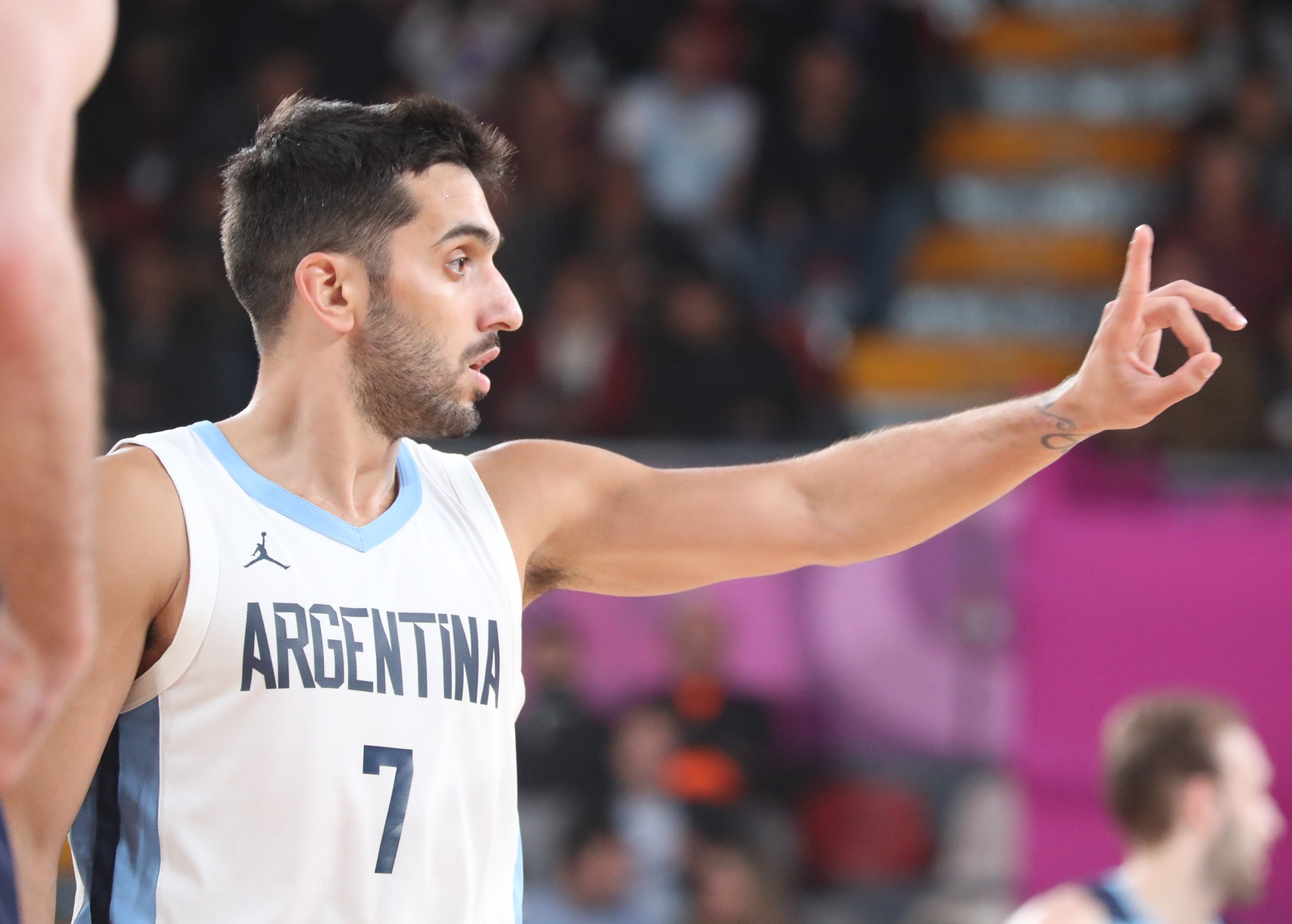 Basketball - XVIII Pan American Games - Lima 2019 - Basketball -  Men Preliminaries Pool -Argentina vs Uruguay - Coliseo Eduardo Dibos, Lima, Peru - July 31, 2019. Argentina's Facundo Campazzo in action. REUTERS/Sergio Moraes