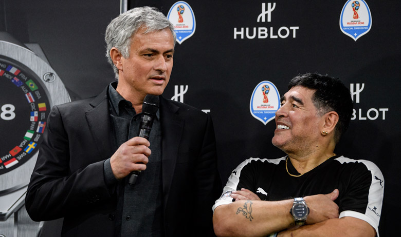 BASEL, SWITZERLAND - MARCH 21: Jose Mourinho and Diego Maradona attend the Match of Friendship by Hublot at Baselworld on March 21, 2018 in Basel, Switzerland. (Photo by Alexander Scheuber/Getty Images For Hublot)