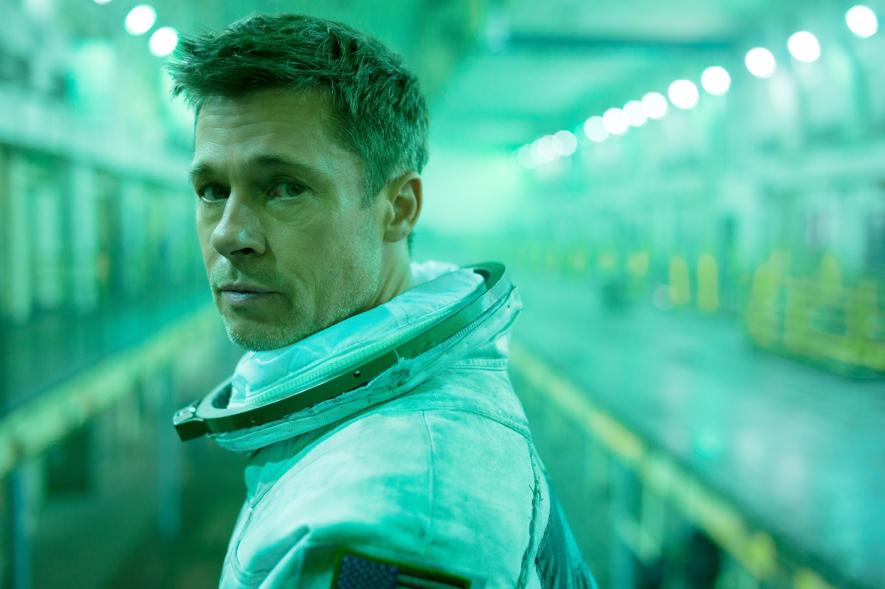 USA. Brad Pitt in a scene from the ©Twentieth Century Fox new movie: Ad Astra (2019). Plot: An astronaut travels to the outer edges of the solar system to find his father and unravel a mystery that threatens the survival of our planet. He uncovers secrets which challenge the nature of human existence and our place in the cosmos., Image: 461784550, License: Rights-managed, Restrictions: Supplied by Landmark Media. Editorial Only. Landmark Media is not the copyright owner of these Film or TV stills but provides a service only for recognised Media outlets., Model Release: no, Credit line: Profimedia, Landmark