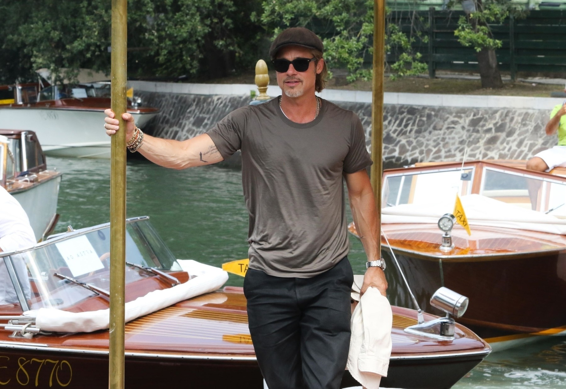 Venice, ITALY  - The Hollywood actor Brad Pitt arrives via taxi boat to the Hotel Excelsior in Venice to attend the 76th Venice Film Festival.  *UK Clients - Pictures Containing Children Please Pixelate Face Prior To Publication*, Image: 467676163, License: Rights-managed, Restrictions: RIGHTS: WORLDWIDE EXCEPT IN ITALY, Model Release: no, Credit line: Profimedia, Backgrid UK
