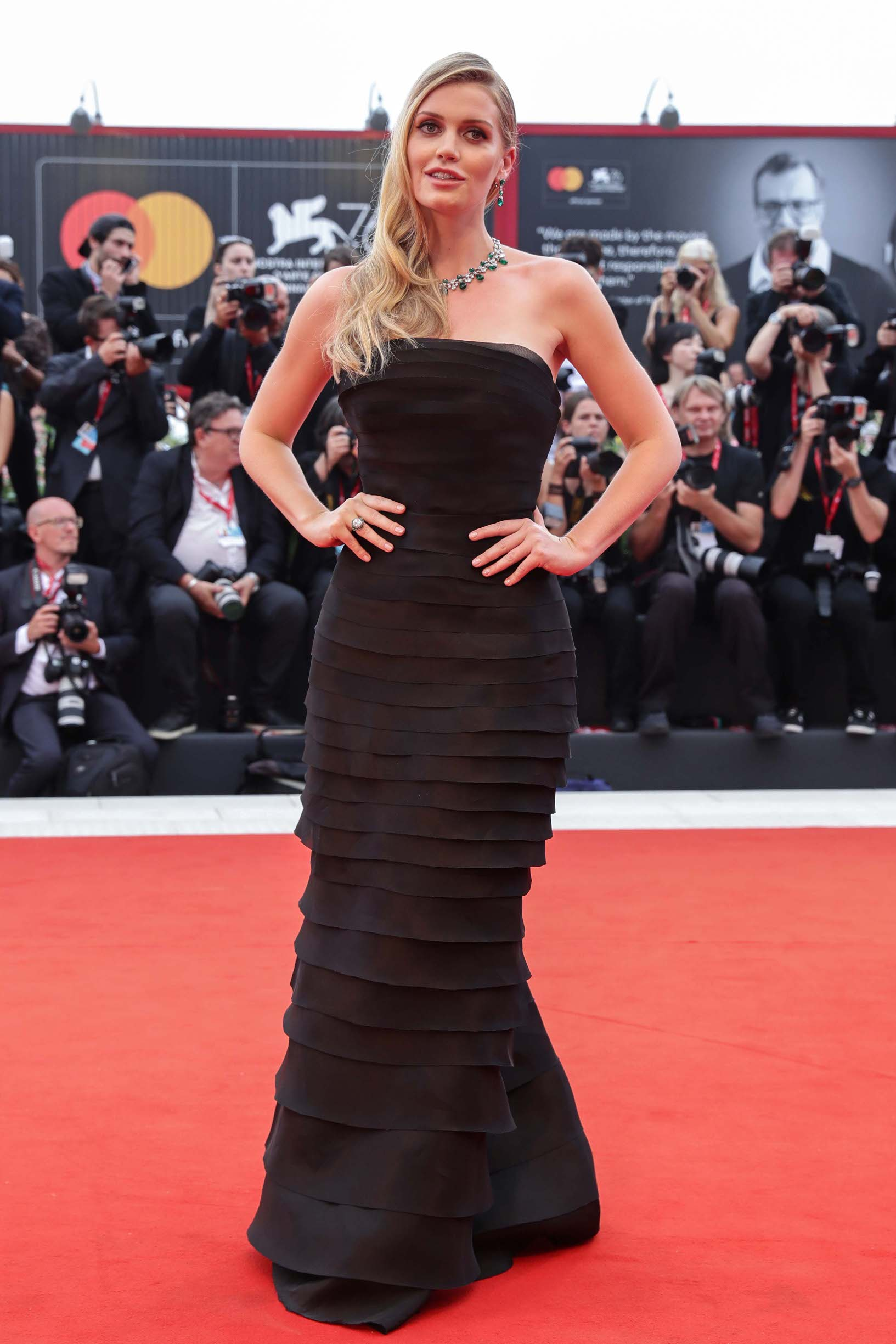 VENICE, ITALY - AUGUST 28:  Lady Kitty Spencer walks the red carpet ahead of the Opening Ceremony and the