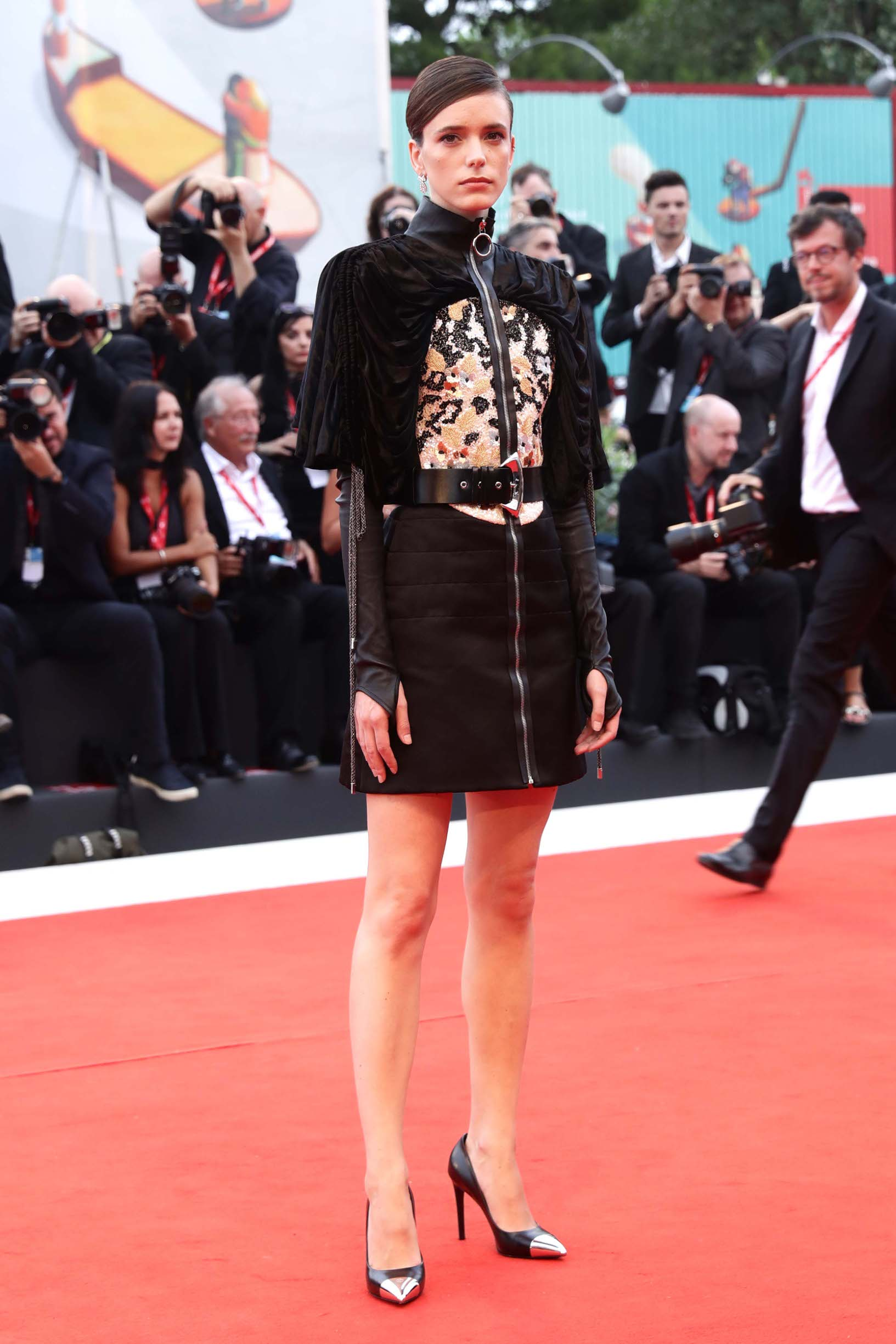 VENICE, ITALY - AUGUST 28: Jury Member Stacy Martin walks the red carpet ahead of the Opening Ceremony and the