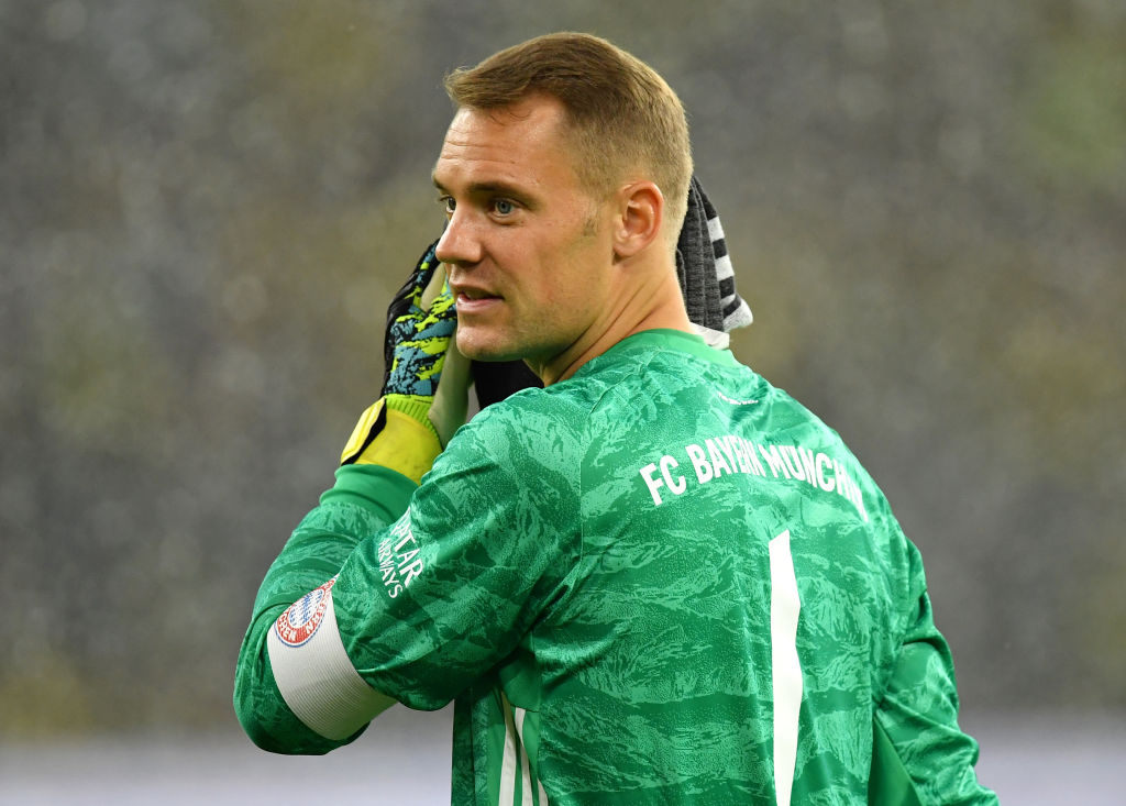 DORTMUND, GERMANY - AUGUST 03: Manuel Neuer of Bayern Muenchen reacts during the DFL Supercup 2019 match between Borussia Dortmund and FC Bayern München at Signal Iduna Park on August 03, 2019 in Dortmund, Germany. (Photo by Stuart Franklin/Bongarts/Getty Images)