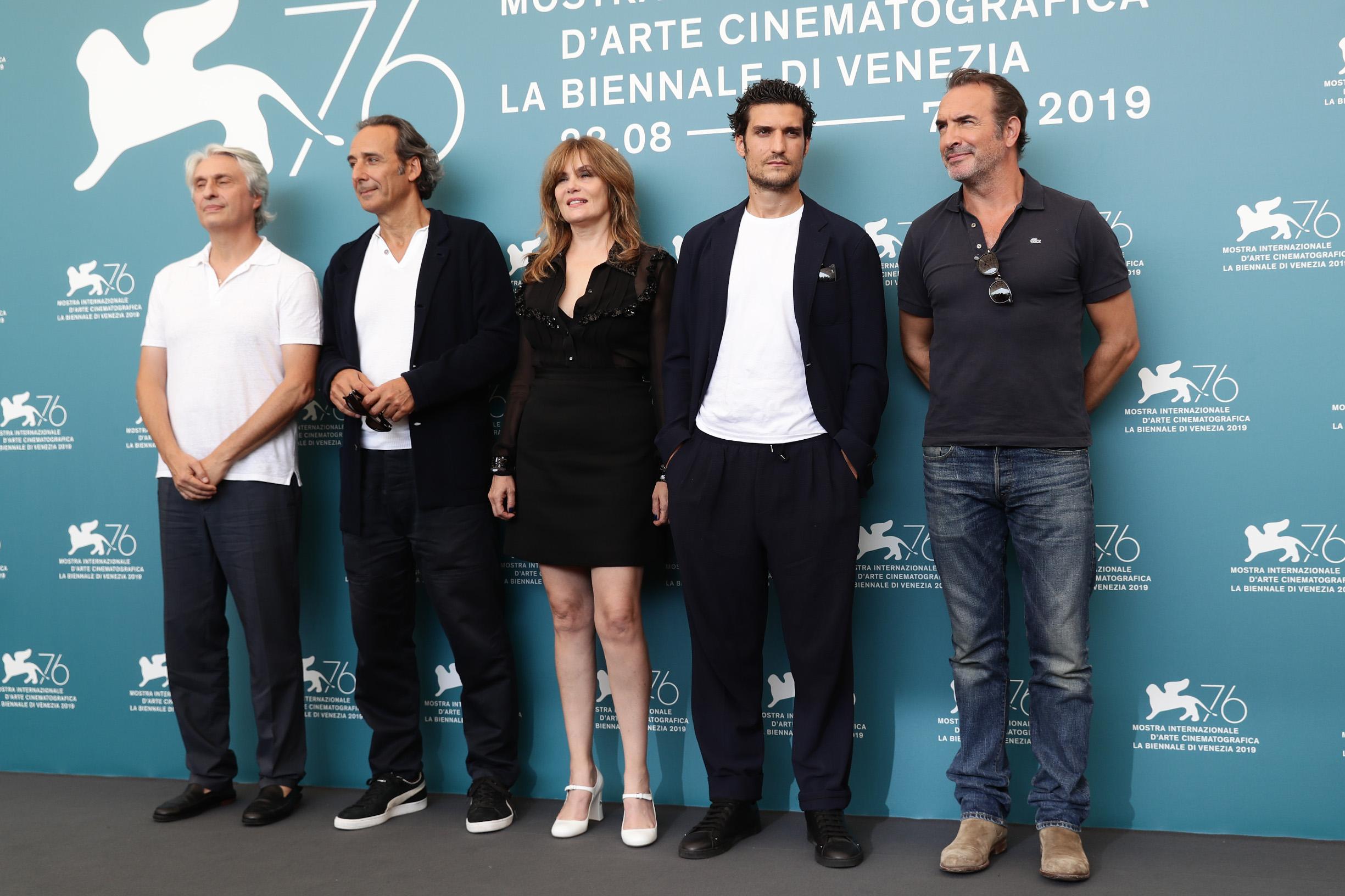 VENICE, ITALY - AUGUST 30: (L-R) Alain Goldman, Alexandre Desplat, Louis Garrel,  Emmanuelle Seigner and Jean Dujardin attend