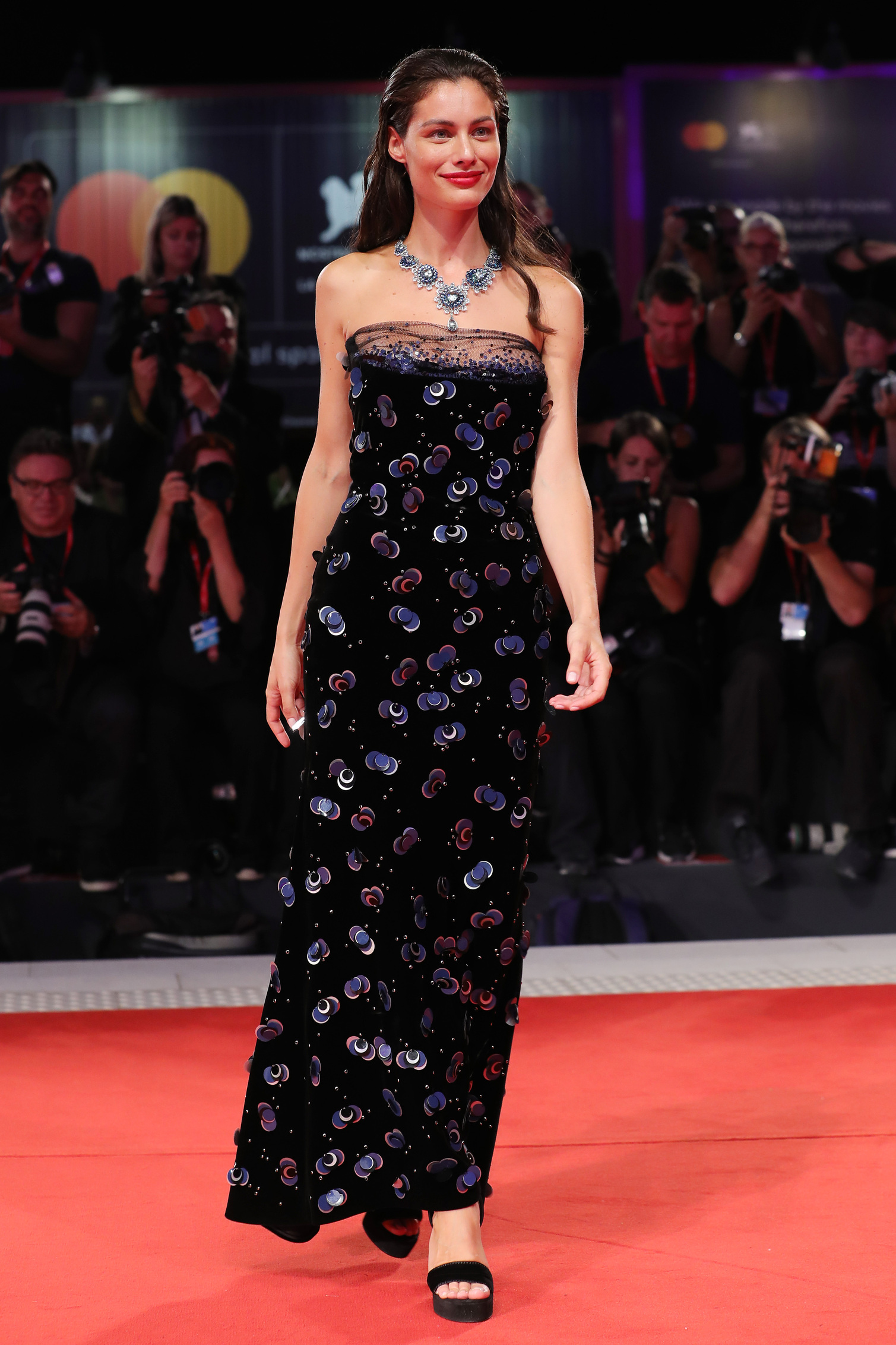 VENICE, ITALY - AUGUST 30:  Marica Pellegrinelli walks the red carpet ahead of the