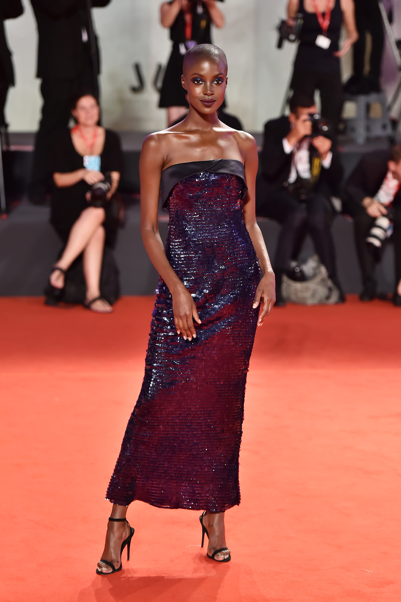 VENICE, ITALY - AUGUST 30: Madisin Rian walks the red carpet ahead of the