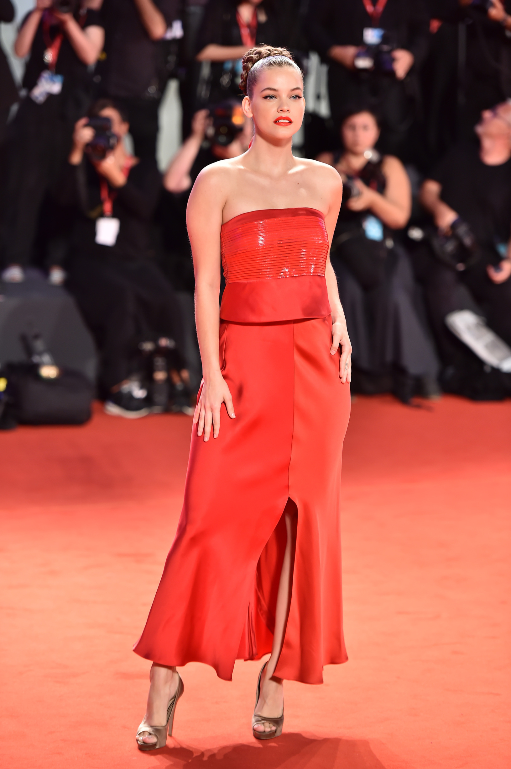 VENICE, ITALY - AUGUST 30:  Barbara Palvin walks the red carpet ahead of the