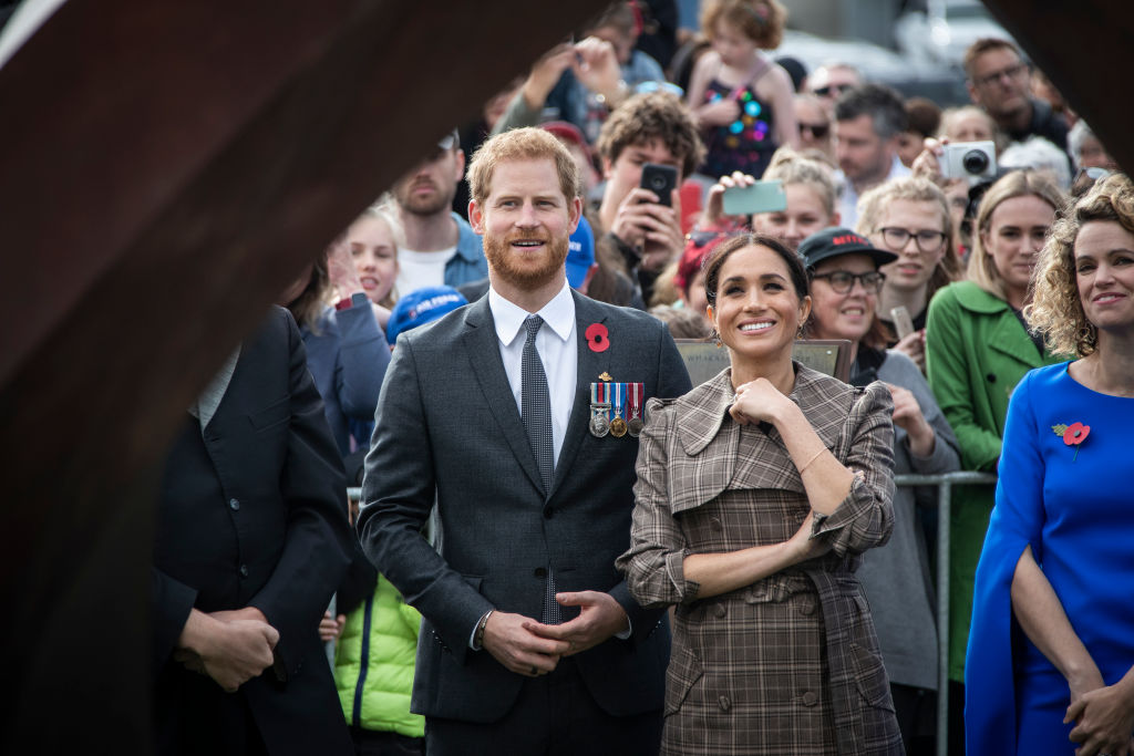 WELLINGTON, NZ - OCTOBER 28: Prince Harry, Duke of Sussex and Meghan, Duchess of Sussex visit the newly unveiled UK war memorial and Pukeahu National War Memorial Park on October 28, 2018, in Wellington, New Zealand. The Duke and Duchess of Sussex are on their official 16-day Autumn tour visiting cities in Australia, Fiji, Tonga and New Zealand. (Photo by Rosa Woods - Pool/Getty Images)