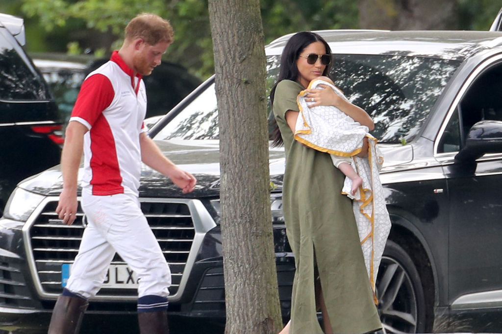 WOKINGHAM, ENGLAND - JULY 10: Prince Harry, Duke of Sussex, Meghan, Duchess of Sussex and Prince Archie Harrison Mountbatten-Windsor attend The King Power Royal Charity Polo Day at Billingbear Polo Club on July 10, 2019 in Wokingham, England. (Photo by Chris Jackson/Getty Images)