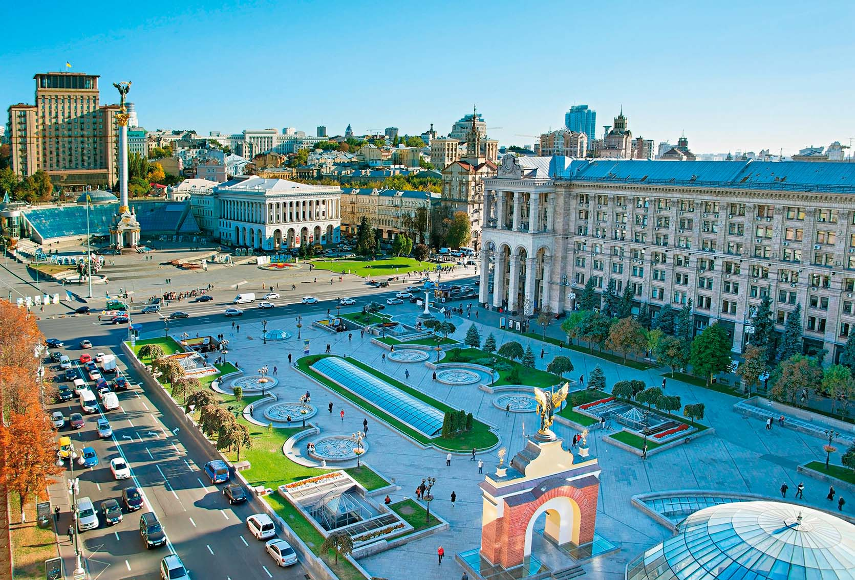 View from above of Independence Square (Maidan Nezalezhnosti) in Kiev, Ukraine, Image: 319172585, License: Rights-managed, Restrictions: , Model Release: no, Credit line: Profimedia, Alamy