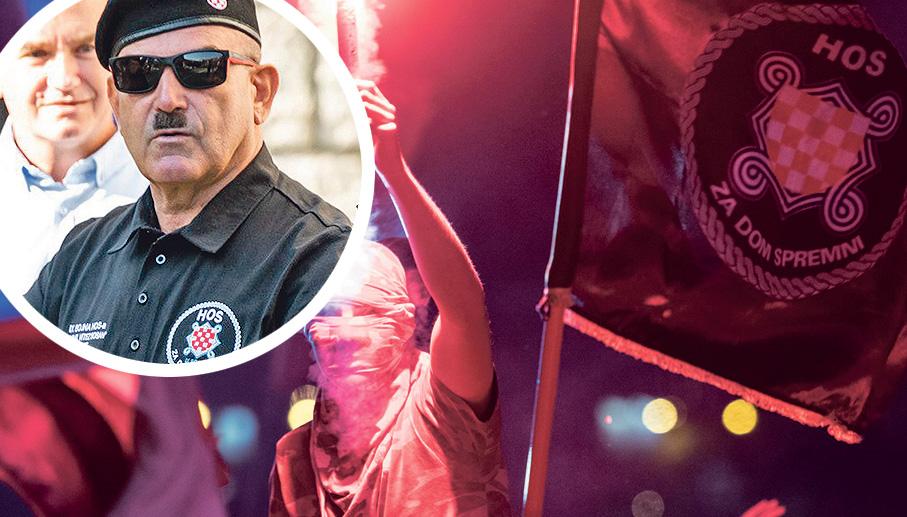 """Koncert Marka Perkovića Thompsona u Splitu 4. kolovoza na kojem se moglo čuti """"Za dom spremni""""; HOS-ovac Marko Skejo (u krugu)"""