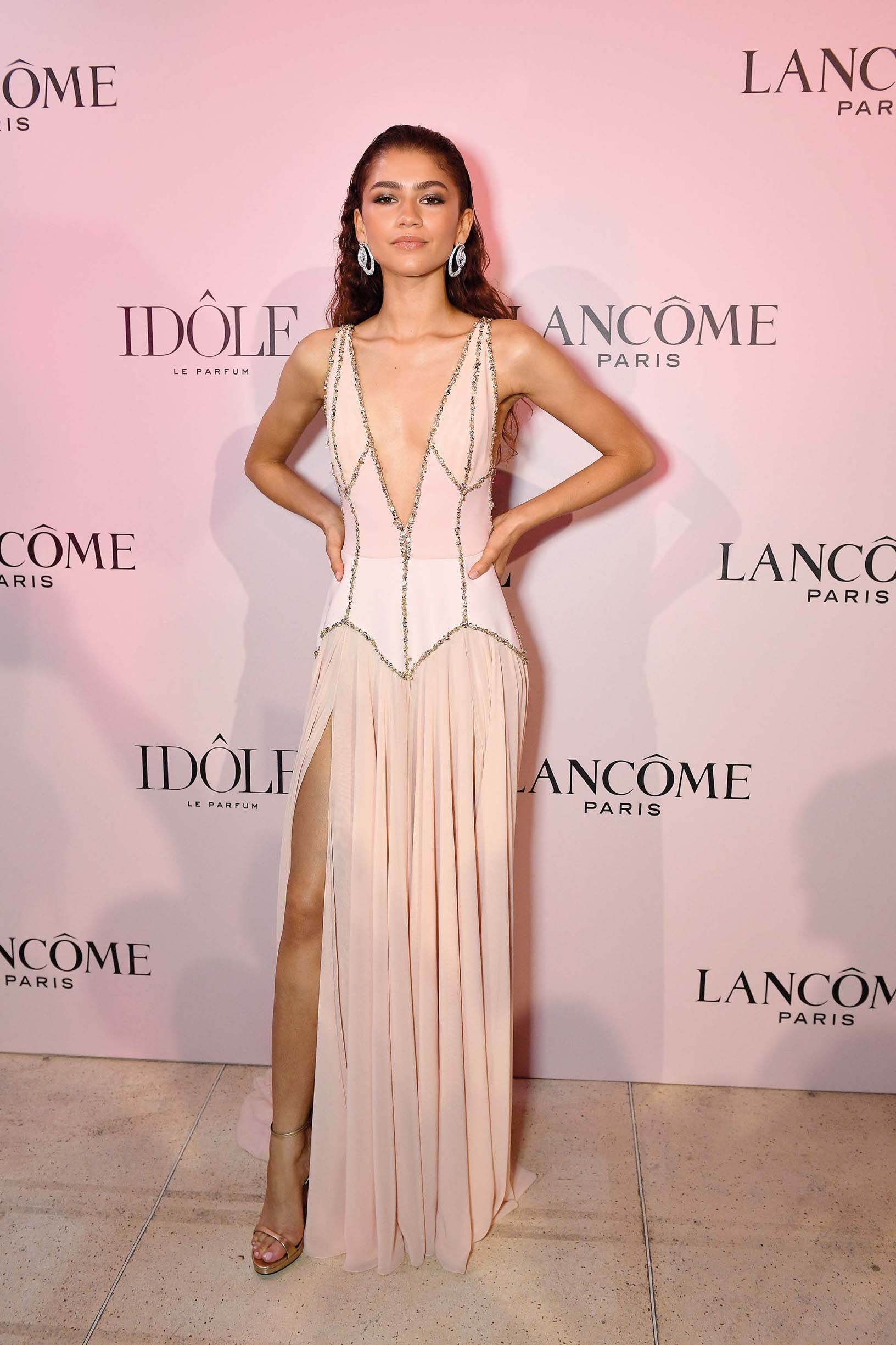 PARIS, FRANCE - JULY 02: Zendaya, the face of the Lancôme Idôle fragrance, attends the launch at Palais D'Iena on July 02, 2019 in Paris, France. (Photo by Kristy Sparow/Getty Images for Lancome,)