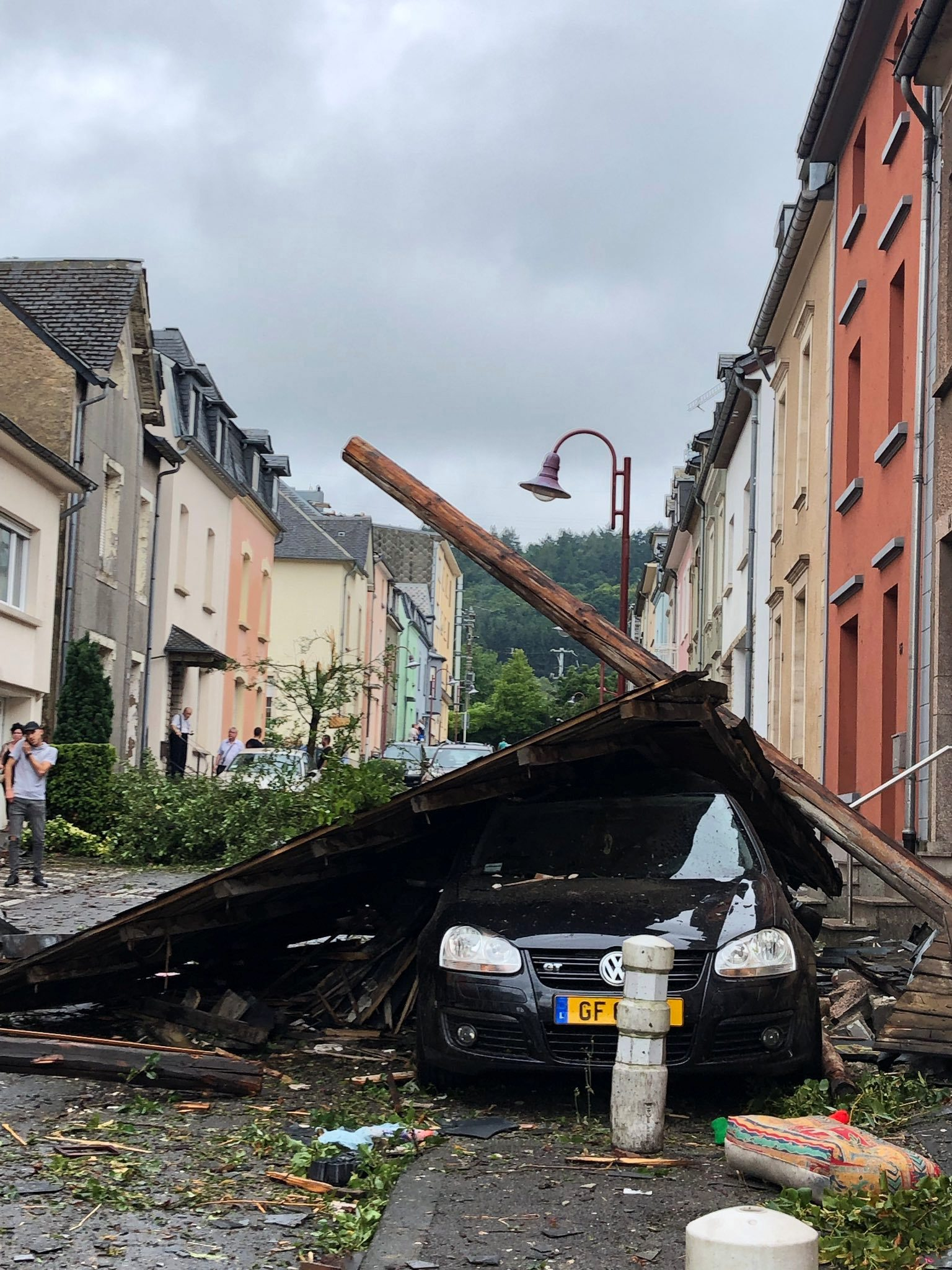 Damages left by a tornado are seen in Petange, Luxembourg, August 9, 2019, in this image obtained from social media. Pierrick Bourgeois via REUTERS. ATTENTION EDITORS - THIS IMAGE HAS BEEN SUPPLIED BY A THIRD PARTY. MANDATORY CREDIT. NO RESALES. NO ARCHIVES.