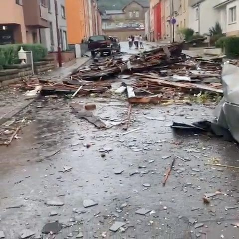 Damages left by a tornado are seen in Petange, Luxembourg, August 9, 2019, in this still image obtained from social media. Bakayoko Ahoua @missbakofficiel via REUTERS. ATTENTION EDITORS - THIS IMAGE HAS BEEN SUPPLIED BY A THIRD PARTY. MANDATORY CREDIT. NO RESALES. NO ARCHIVES.
