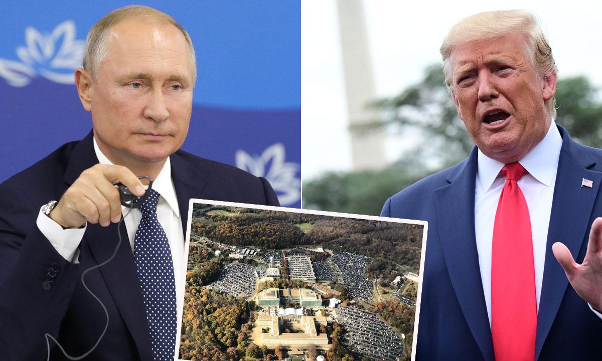 Vladimir Putin (lijevo), sjedište CIA-e u Langleyu, Donald Trump (desno)