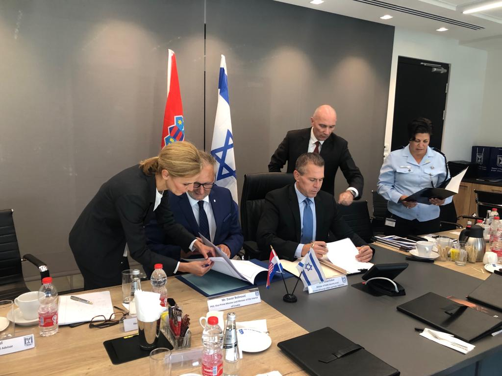 Signing of cooperation agreement on public security in Tel Aviv. Croatian minister Davor Božinović (left) and Israeli Minister of Public Security, Strategic Affairs and Information Gilad Erdan