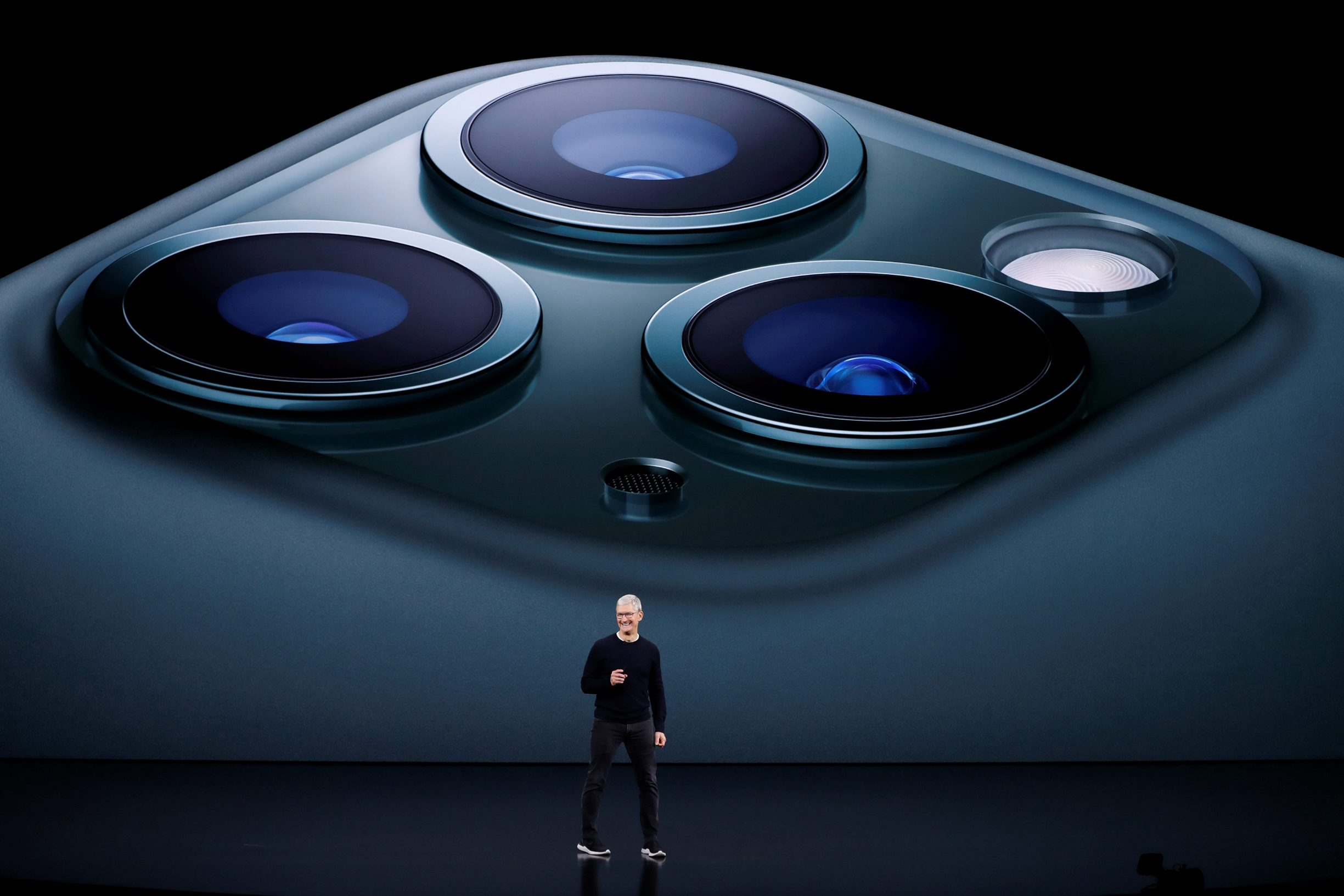 CEO Tim Cook presents the new iPhone 11 Pro at an Apple event at their headquarters in Cupertino, California, U.S. September 10, 2019. REUTERS/Stephen Lam     TPX IMAGES OF THE DAY