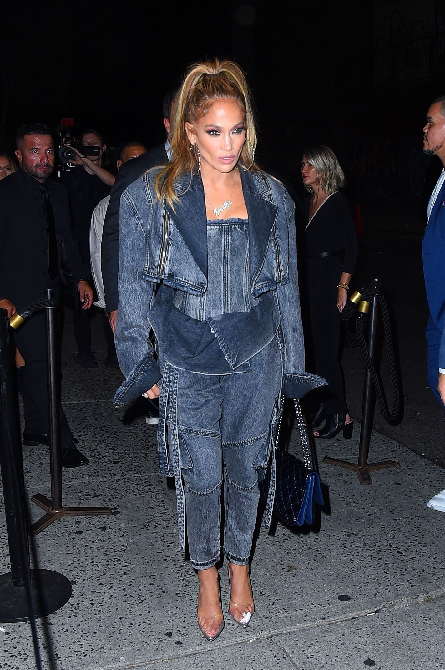New York, NY  - Jennifer Lopez is rocking denim from head to toe as she heads to dinner with Benny Medina at the Dirty French restaurant in New York.  *UK Clients - Pictures Containing Children Please Pixelate Face Prior To Publication*, Image: 470219322, License: Rights-managed, Restrictions: , Model Release: no, Credit line: Profimedia, Backgrid USA