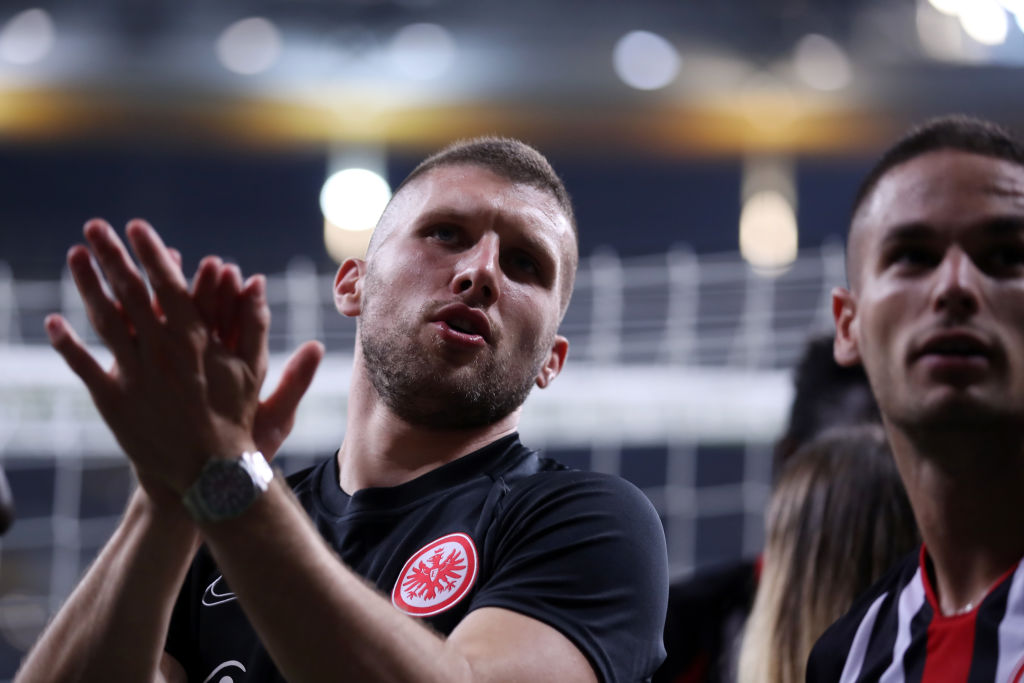 FRANKFURT AM MAIN, GERMANY - AUGUST 29: Ante Rebic of Frankfurt reacts after the second leg of the UEFA Europa League playoff match between Eintracht Frankfurt and Racing Club de Strasbourg at Commerzbank Arena on August 29, 2019 in Frankfurt am Main, Germany. (Photo by Alex Grimm/Getty Images)