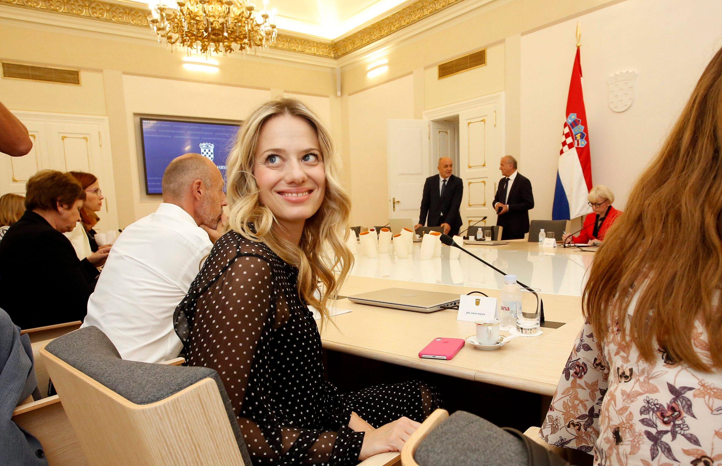 Jelena Veljača na sastanku s premijerom Andrejem Plenkovićem u Banskim dvorima