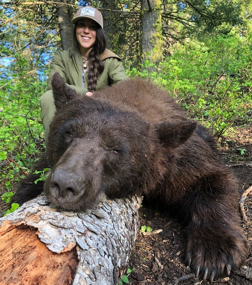 This six foot bear was Kate's largest prey, weighing over 350lb. IDAHO, USA: THIS NURSE receives thousands of death threats online and has even had sickos threaten to RAPE AND MURDER her baby daughter but continues to defy the trolls to show that hunting isn't just for men by sharing her kills with her 27K Instagram followers. Registered nurse, Kate Small (29) from Boise, Idaho, USA, was introduced to hunting by her stepdad 10 years ago and instantly fell in love with it. Kate loves everything about hunting, from the adventure and strategic planning leading up to the kill which tests her strength and endurance and gives her unforgettable memories, to gutting, preserving and butchering the animal afterwards. Knowing where her food has come from is an important thing for Kate and she makes sure that she salvages as much of the animal that she can, using the meat, with the exception of wolf meat because it isn't fit for human consumption, to fill her freezer for her family to live off and uses the hide and head for mounting. Kate never kills an animal just for the fun of hunting, only killing them for conservation or food purposes. Despite this, and hunting in a completely legal and ethical way, she receives thousands of disgusting death threats from people who have threatened to rape and murder her one-year-old daughter, murder her dogs and Kate herself, which she tries her best to laugh off. As a backcountry hunter, Kate can spend days or weeks out in the field to hunt an animal and she's acquired 27K followers on her Instagram, @kate_small_outdoors. She hopes to be able to encourage other women to the sport and prove that it's not just a man's game. The largest animal Kate has ever hunted was a black bear which was over 6ft long and weighed more than 350lb but the most difficult animal to hunt is the wolf due to its heightened senses, speed and distance they can travel in a day. mediadrumworld.com / @kate_small_outdoors, Image: 470141402, License: Rights-managed, Restrictions: FBMD2300096b010000ef450000ba740000d4990000f2110200696102004b2b0300897803008fc80300c8e10400, Model Release: no, Credit line: Profimedia, Media Drum World
