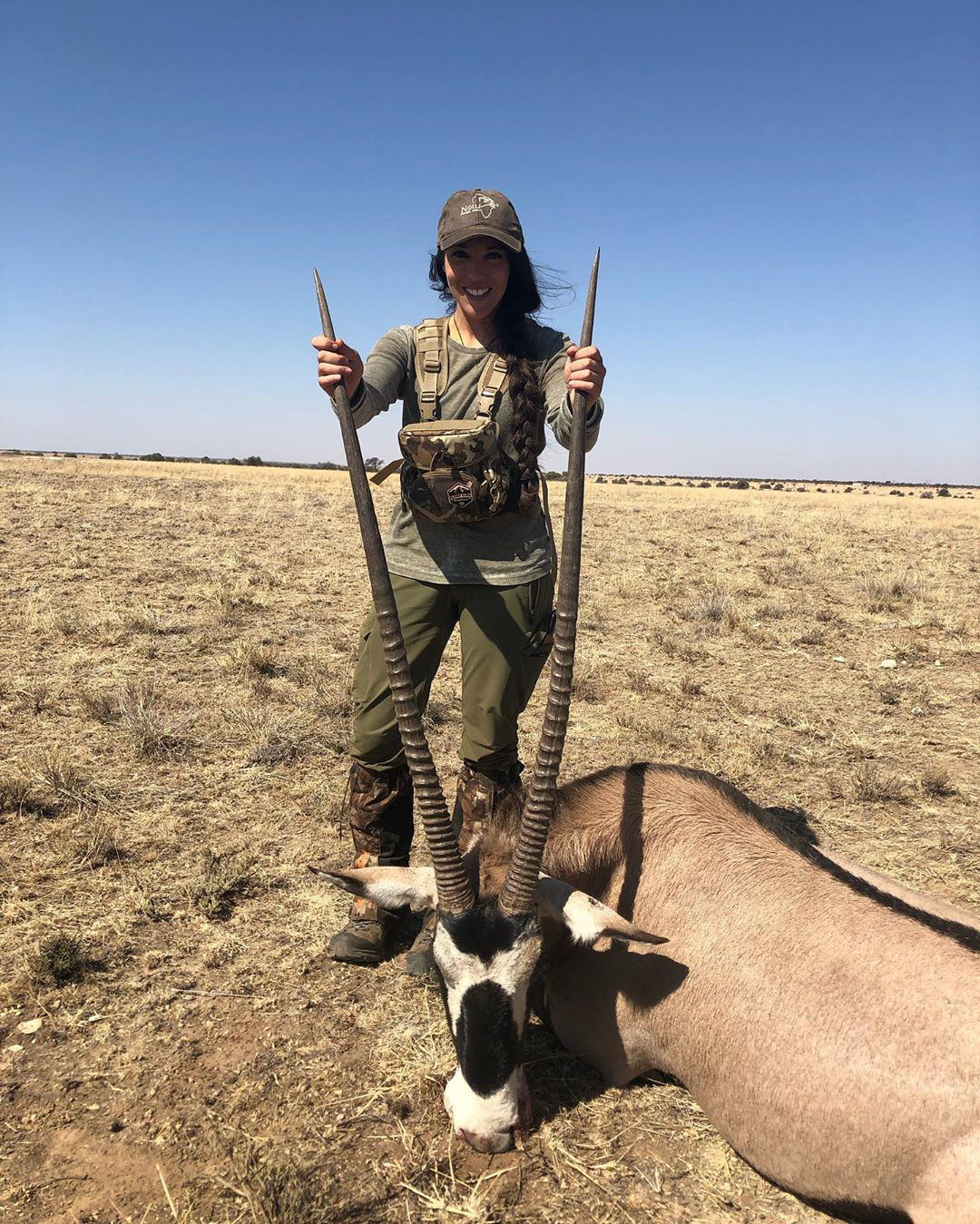 Kate recently killed a gemsbock in South Africa. IDAHO, USA: THIS NURSE receives thousands of death threats online and has even had sickos threaten to RAPE AND MURDER her baby daughter but continues to defy the trolls to show that hunting isn't just for men by sharing her kills with her 27K Instagram followers. Registered nurse, Kate Small (29) from Boise, Idaho, USA, was introduced to hunting by her stepdad 10 years ago and instantly fell in love with it. Kate loves everything about hunting, from the adventure and strategic planning leading up to the kill which tests her strength and endurance and gives her unforgettable memories, to gutting, preserving and butchering the animal afterwards. Knowing where her food has come from is an important thing for Kate and she makes sure that she salvages as much of the animal that she can, using the meat, with the exception of wolf meat because it isn't fit for human consumption, to fill her freezer for her family to live off and uses the hide and head for mounting. Kate never kills an animal just for the fun of hunting, only killing them for conservation or food purposes. Despite this, and hunting in a completely legal and ethical way, she receives thousands of disgusting death threats from people who have threatened to rape and murder her one-year-old daughter, murder her dogs and Kate herself, which she tries her best to laugh off. As a backcountry hunter, Kate can spend days or weeks out in the field to hunt an animal and she's acquired 27K followers on her Instagram, @kate_small_outdoors. She hopes to be able to encourage other women to the sport and prove that it's not just a man's game. The largest animal Kate has ever hunted was a black bear which was over 6ft long and weighed more than 350lb but the most difficult animal to hunt is the wolf due to its heightened senses, speed and distance they can travel in a day.mediadrumworld.com / @kate_small_outdoors, Image: 470141418, License: Rights-managed, Restrictions: FBMD23000988030000305f000007810000829a000088170200ce7d02007144030023b9030022190400763f0500, Model Release: no, Credit line: Profimedia, Media Drum World