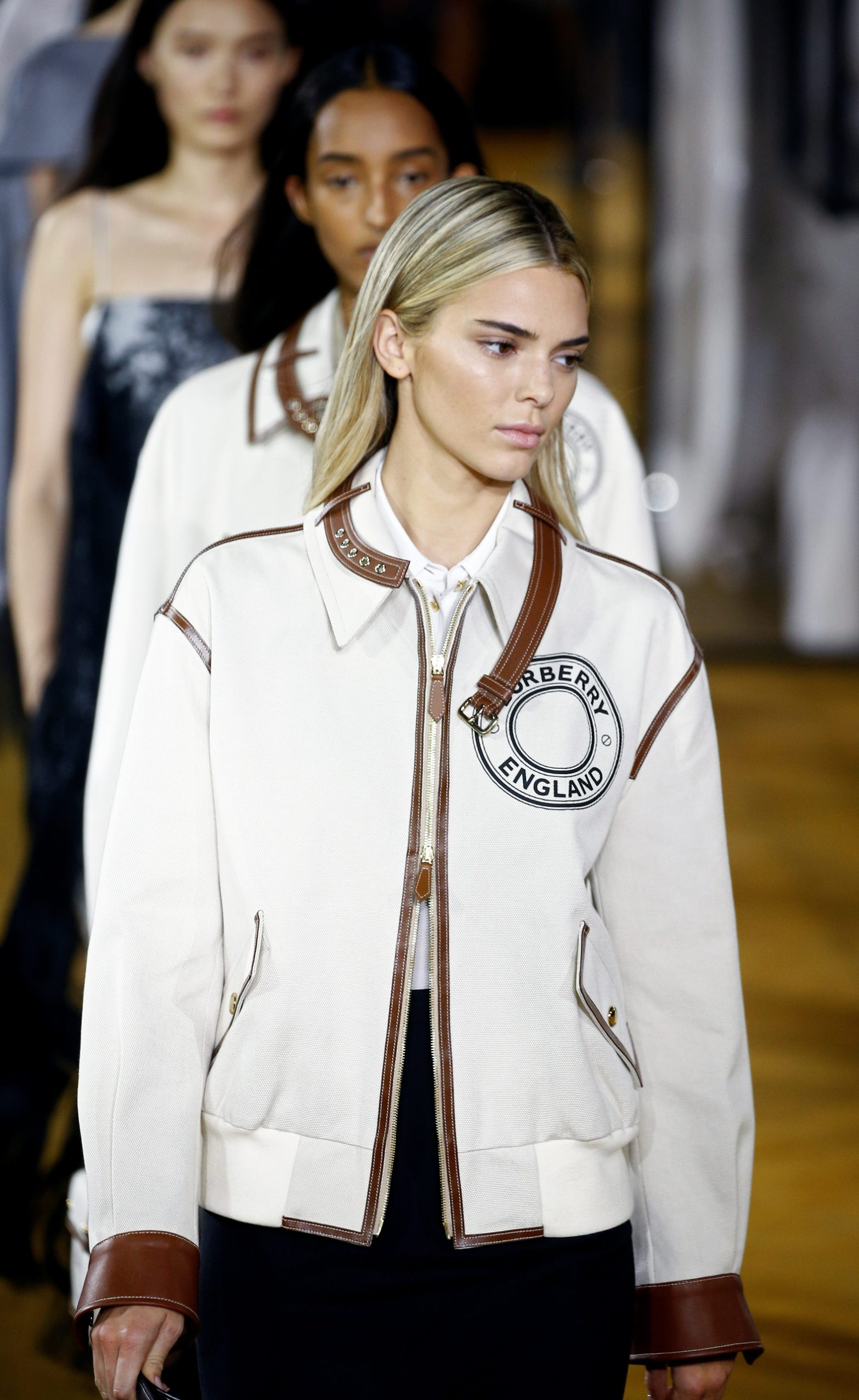 Model Kendall Jenner presents a creation during the Burberry catwalk show at London Fashion Week in London, Britain, September 16, 2019. REUTERS/Henry Nicholls