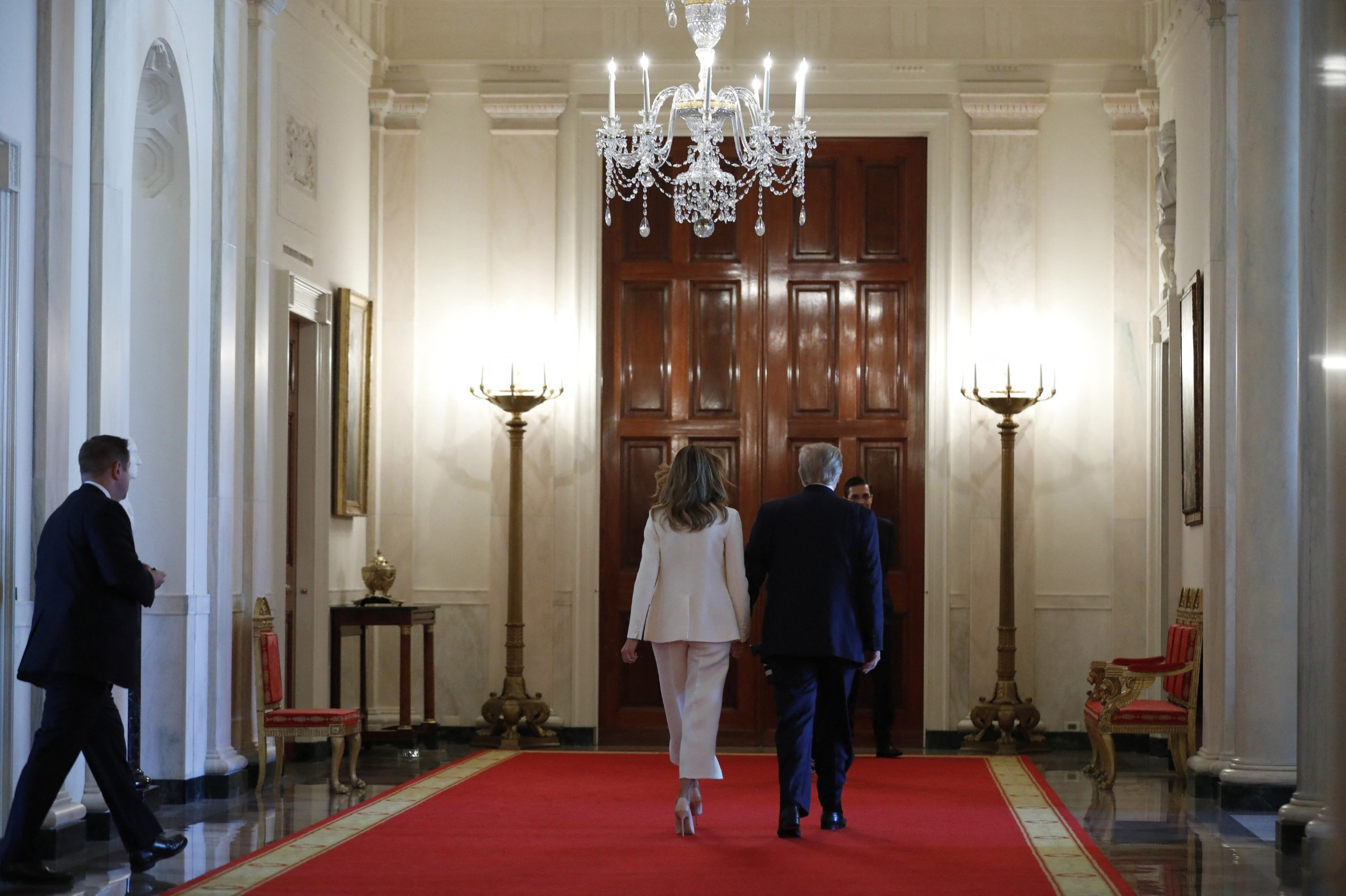 U.S. First Lady Melania Trump walks back with First Lady Melania Trump after presenting the Presidential Medal of Freedom to Mariano Rivera in the East Room of the White House in Washington on September 16, 2019. During his 19 seasons in Major League Baseball, Mariano Rivera established himself as the greatest relief pitcher of all time. Signed by the New York Yankees in 1990, Mr. Rivera would become a 13-time All-Star and 5-time World Series champion., Image: 471202634, License: Rights-managed, Restrictions: , Model Release: no, Credit line: Profimedia, Abaca Press