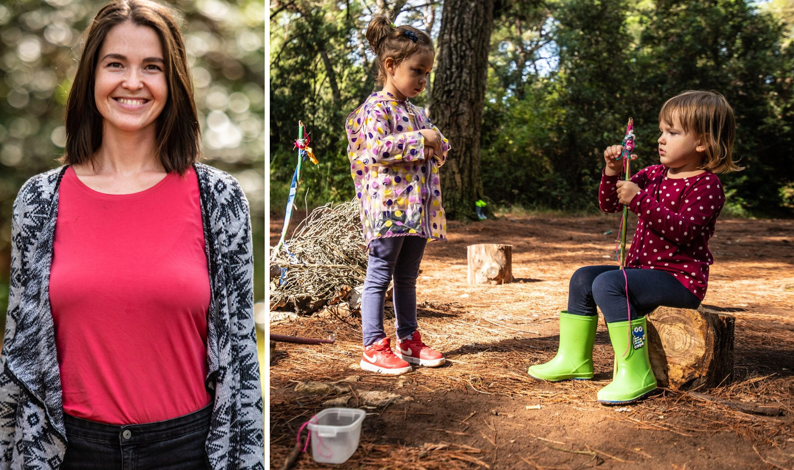 Francesca Miličević i djeca u šumskom vrtiću