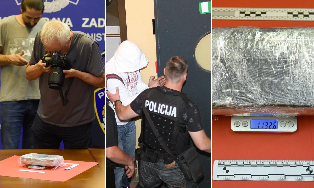 Zaplijenjeni kokain (lijevo i desno); ilustracija uhićenja (u sredini)
