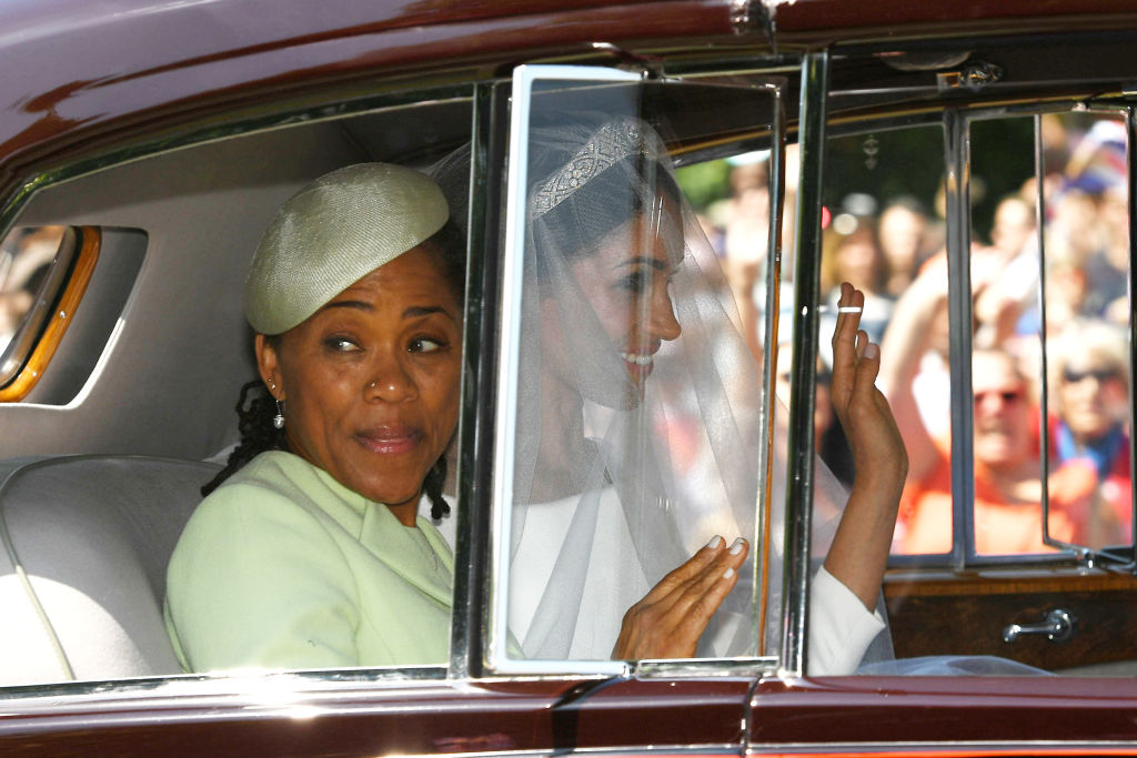 WINDSOR, UNITED KINGDOM - MAY 19:  Meghan Markle leaves the Cliveden House Hotel accompanied by her mother, Ms Doria Ragland, ahead of her wedding to Prince Harry at St George's Chapel at Windsor Castle on May 19, 2018 in Windsor, England. (Photo by Bruce Adams - WPA Pool/Getty Images)