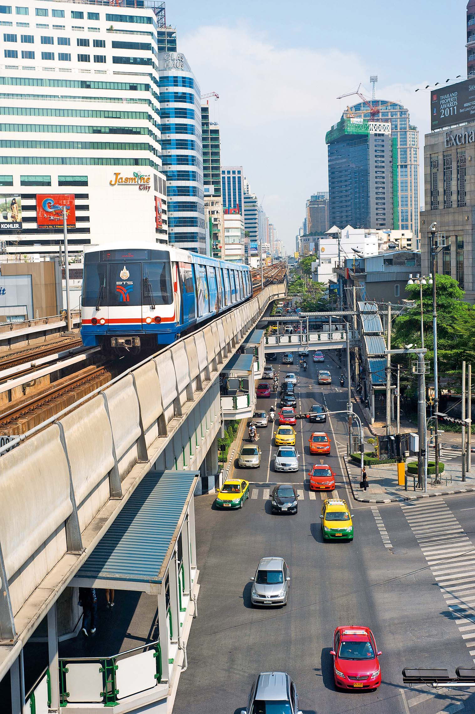 BTS Skytrain in Bangkok. The Bangkok Mass Transit System, commonly known as the BTS Skytrain, is an elevated rapid transit system in Bangkok. The system consists of 32 stations along two lines, Image: 128759681, License: Rights-managed, Restrictions: , Model Release: no, Credit line: Profimedia, Alamy