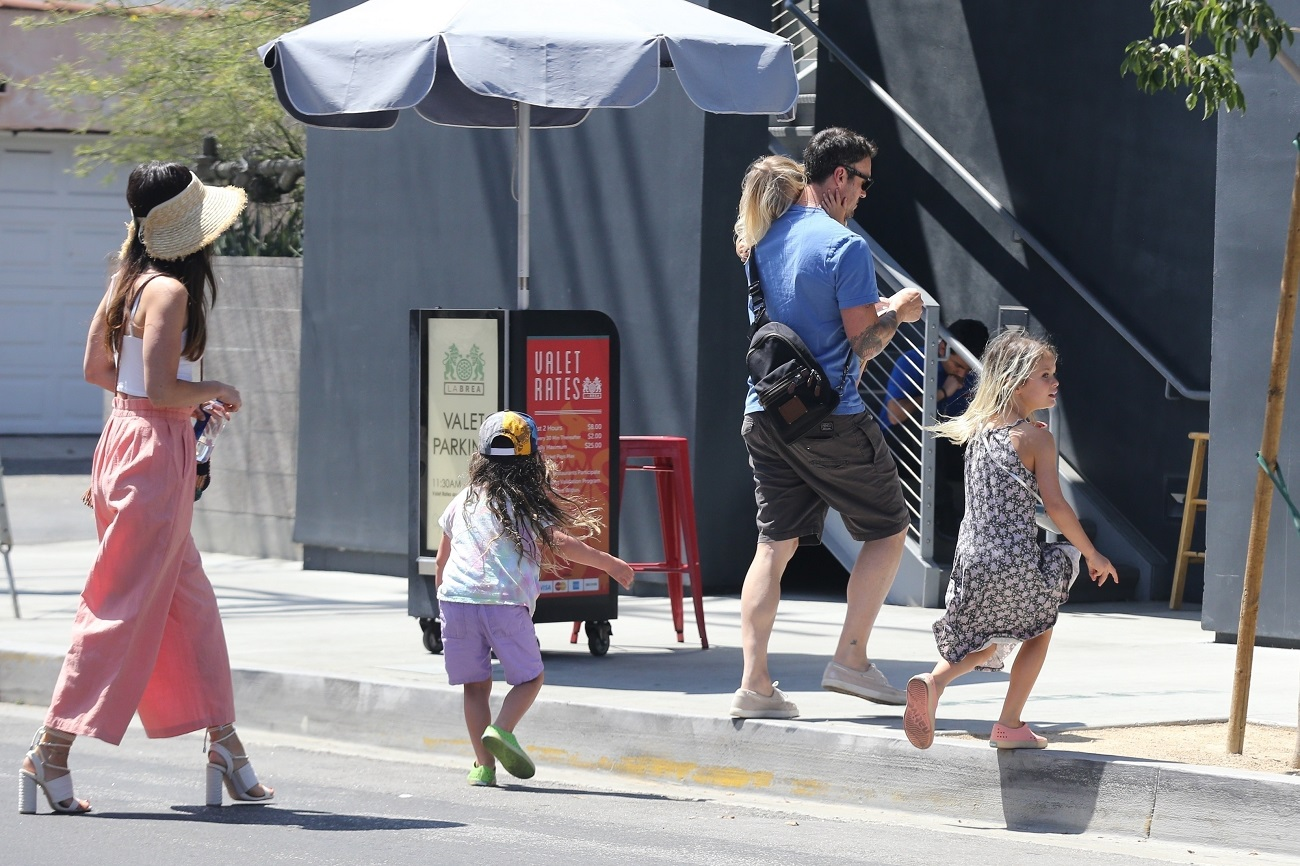 Los Angeles, CA  - *EXCLUSIVE*  - Megan Fox and Brian Austin Green enjoy a weekend lunch with their kids, Bodhi, Noah and Journey. Green is currently filming 'BH90210,' the reboot series of the classic 'Beverly Hills, 90210' where he will be reprising his role as David Silver.  *UK Clients - Pictures Containing Children Please Pixelate Face Prior To Publication*, Image: 458492245, License: Rights-managed, Restrictions: , Model Release: no, Credit line: Profimedia, Backgrid USA