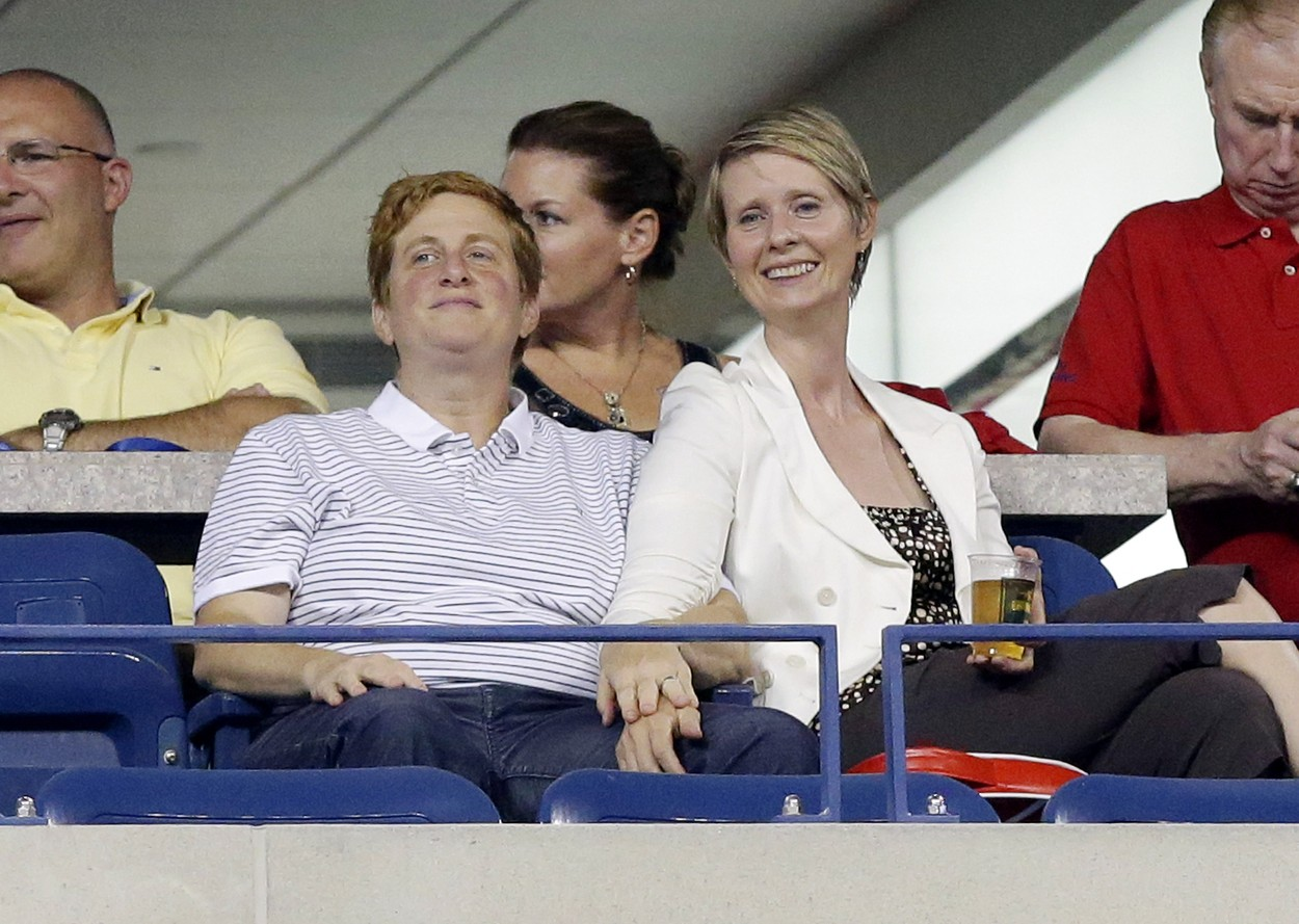 Cynthia Nixon and Christine Marinoni watch tennis in Arthur Ashe Stadium on day five at the U.S. Open Tennis Championships at the USTA Billie Jean King National Tennis Center in New York City on August 30, 2013., Image: 170869404, License: Rights-managed, Restrictions: , Model Release: no, Credit line: Profimedia, UPI
