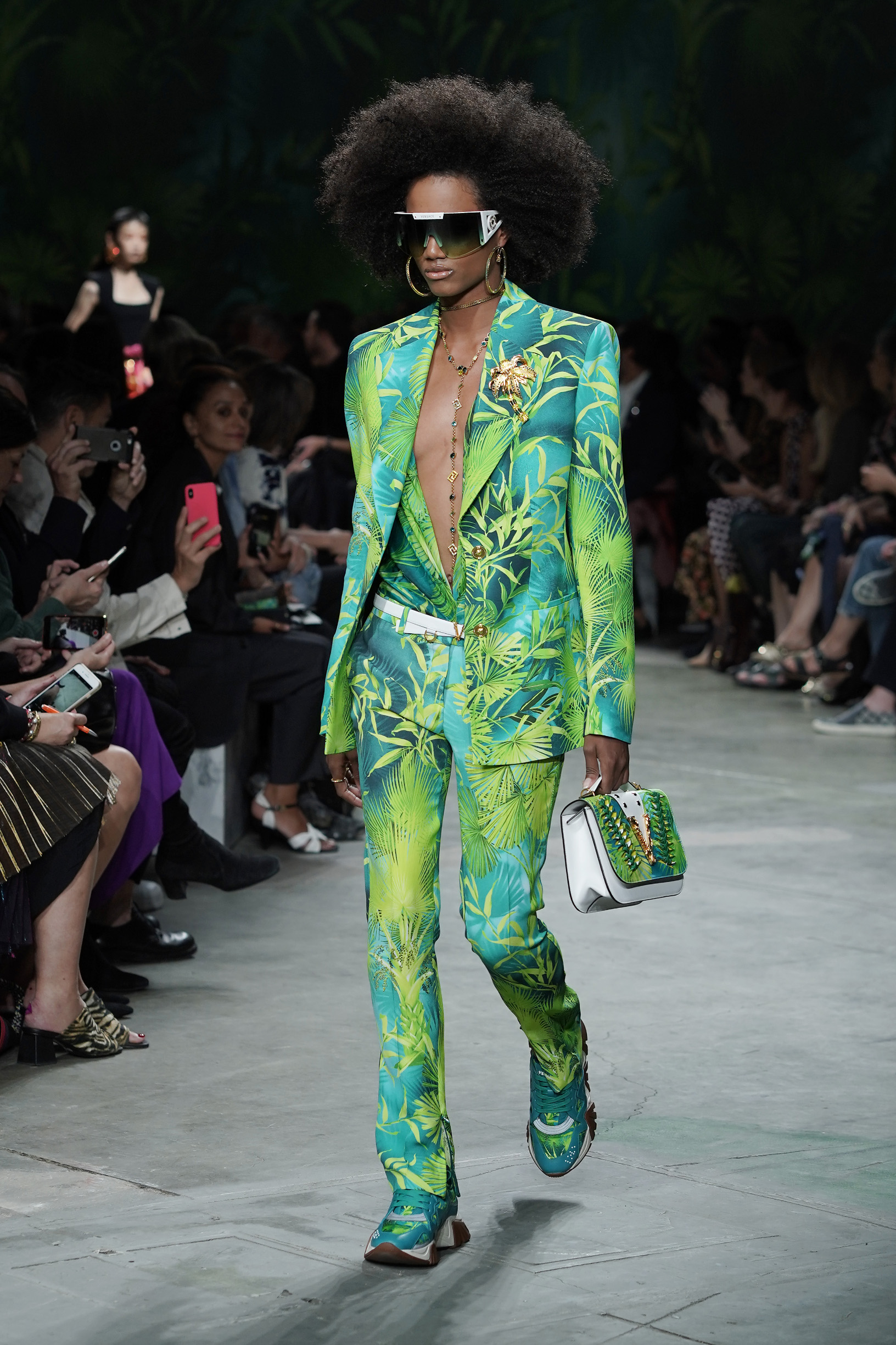 MILAN, ITALY - SEPTEMBER 20: A model walks the runway at the Versace show during the Milan Fashion Week Spring/Summer 2020 on September 20, 2019 in Milan, Italy. (Photo by Vittorio Zunino Celotto/Getty Images)