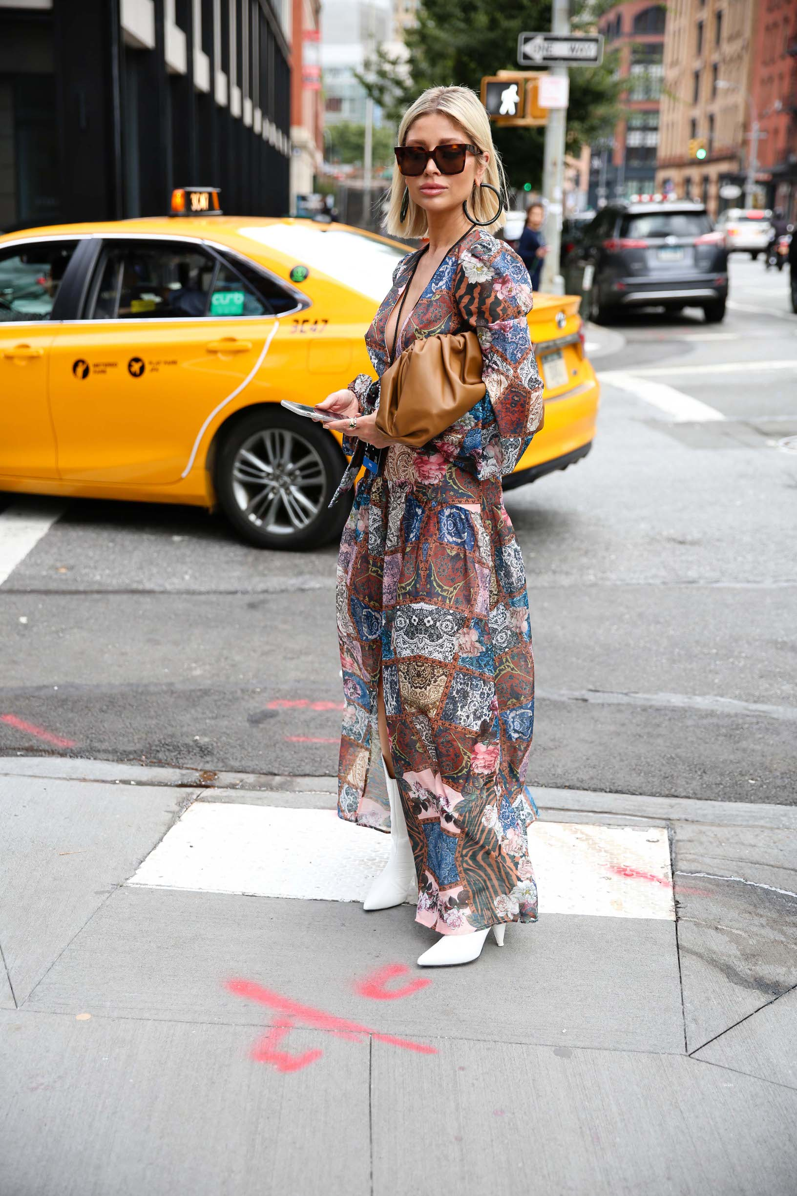 NEW YORK, NEW YORK - SEPTEMBER 08: A guest poses outside of Spring Studios during New York Fashion Week on September 08, 2019 in New York City. (Photo by Donell Woodson/Getty Images)