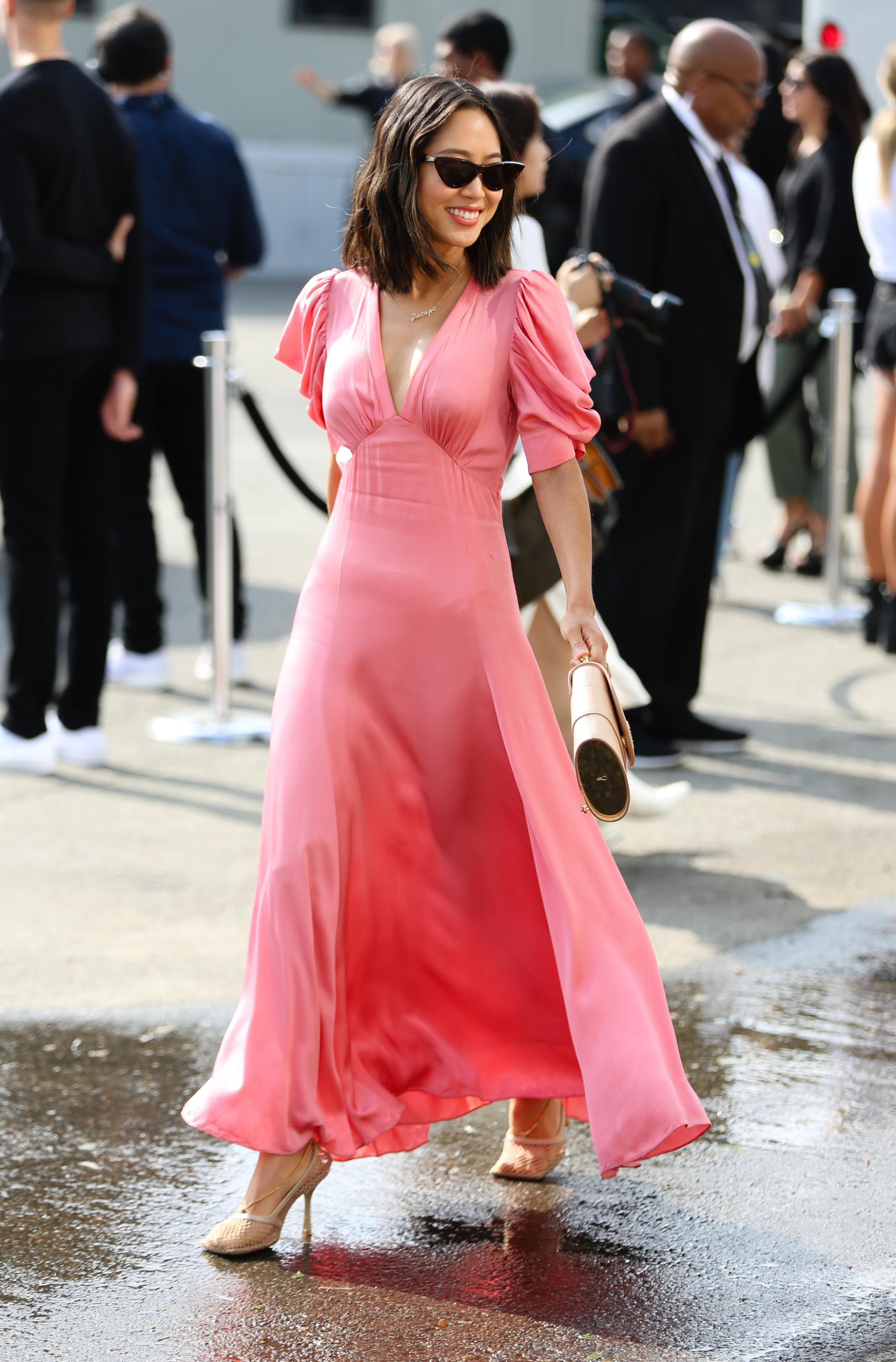 NEW YORK, NEW YORK - SEPTEMBER 11: Aimee Song is seen wearing a pink dress during New York Fashion Week on September 11, 2019 in New York City. (Photo by Donell Woodson/Getty Images)