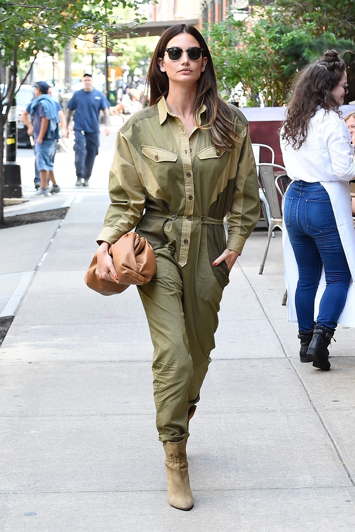 New York, NY  - Lily Aldridge heads into the Greenwich Hotel today for luncheon event looking urban chic in a Camouflage Jumpsuit and heels.  *UK Clients - Pictures Containing Children Please Pixelate Face Prior To Publication*, Image: 460838232, License: Rights-managed, Restrictions: , Model Release: no, Credit line: Profimedia, Backgrid USA