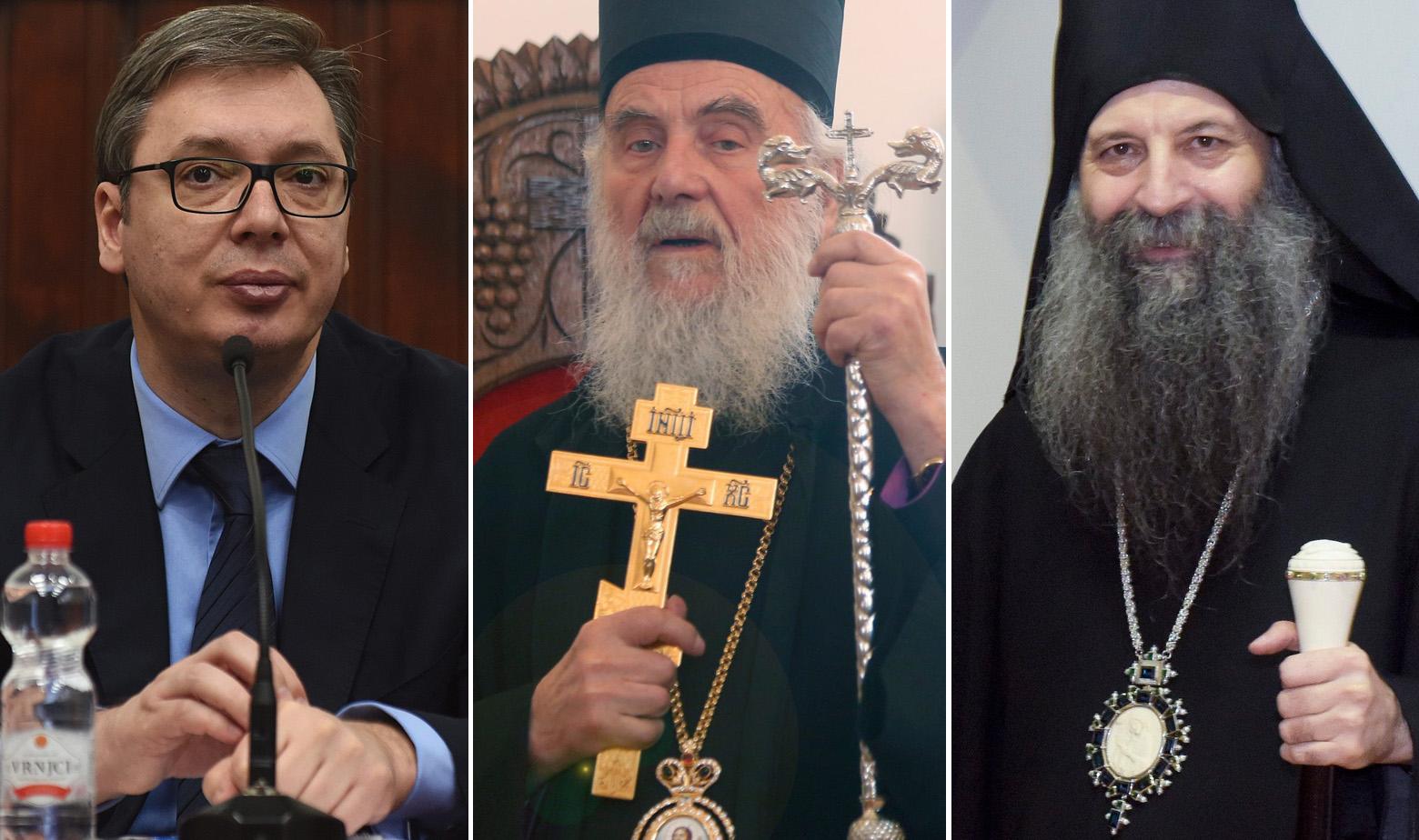 Aleksandar Vučić, patrijarh SPC-a Irinej i dr- Porfirije Perić, zagrebačko-ljubljanski mitroplit