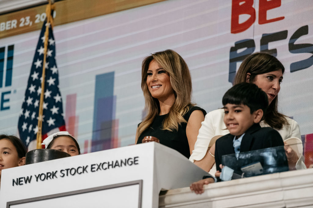 NEW YORK, NY - SEPTEMBER 23: First lady Melania Trump rings the opening bell at the New York Stock Exchange on September 23, 2019 in New York City. The first lady appeared at the Stock Exchange to promote her