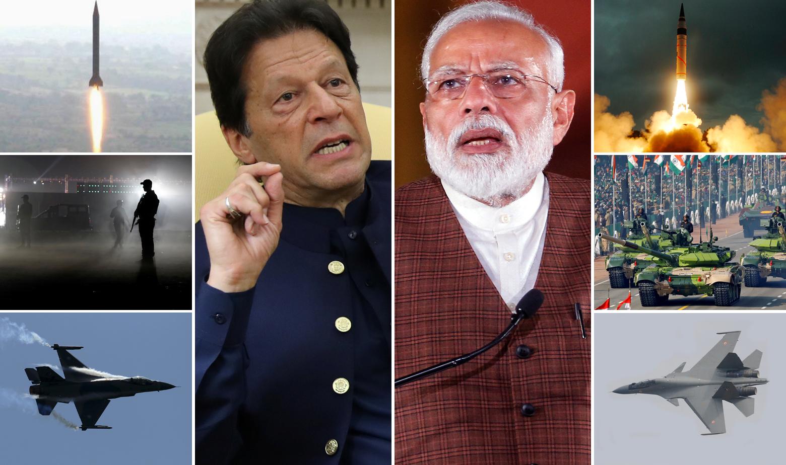 Imran Khan (L) i Narendra Modi (D) i oružje kojim raspolažu Pakistan i Indija, uključujući balističke nuklearne projektile