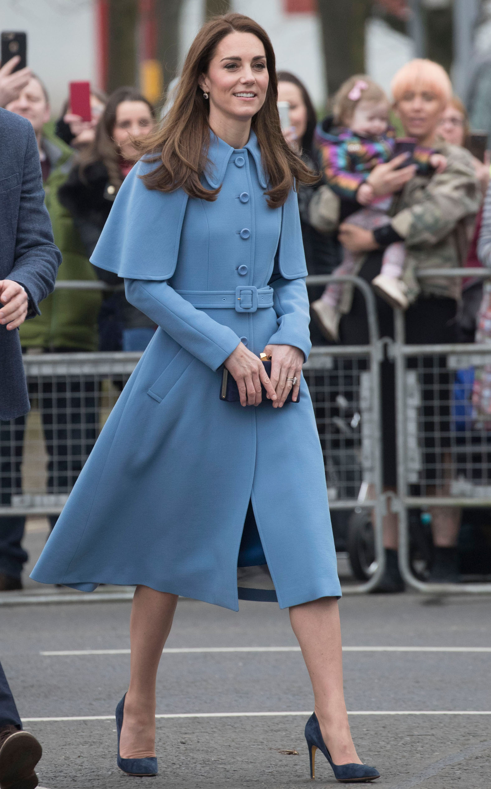 BALLYMENA, NORTHERN IRELAND - FEBRUARY 28: Catherine, Duchess of Cambridge engages in a walkabout in Ballymena town centre on February 28, 2019 in Ballymena, Northern Ireland. Prince William last visited Belfast in October 2017 without his wife, Catherine, Duchess of Cambridge, who was then pregnant with the couple's third child.  This time they concentrate on the young people of Northern Ireland. Their engagements include a visit to Windsor Park Stadium, home of the Irish Football Association, activities at the Roscor Youth Village in Fermanagh, a party at the Belfast Empire Hall, Cinemagic, a charity that uses film, television and digital technologies to inspire young people and finally dropping in on a SureStart early years programme. (Photo by Stephen Lock - Pool/Getty Images)