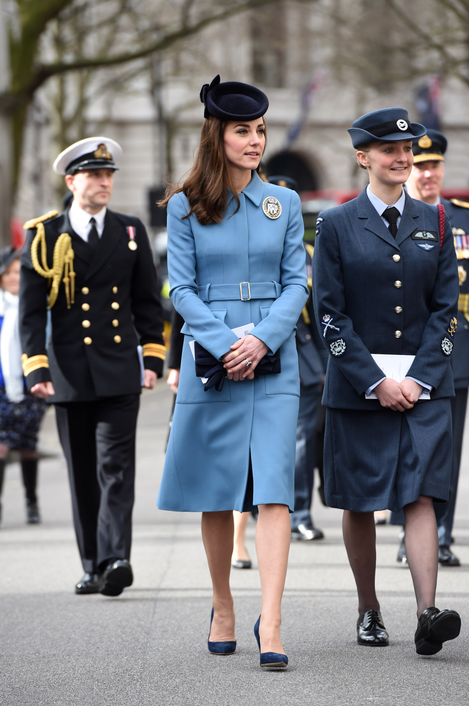 LONDON, ENGLAND - FEBRUARY 07:  Catherine, Duchess of Cambridge arrives to the 75th Anniversary of the RAF Air Cadets at St Clement Danes Church on February 7, 2016 in London, England.  (Photo by Eddie Mulholland - WPA Pool/Getty Images)