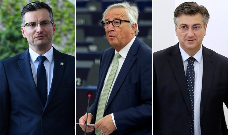 Marjan Šarec, Jean-Claude Juncker, Andrej Plenković